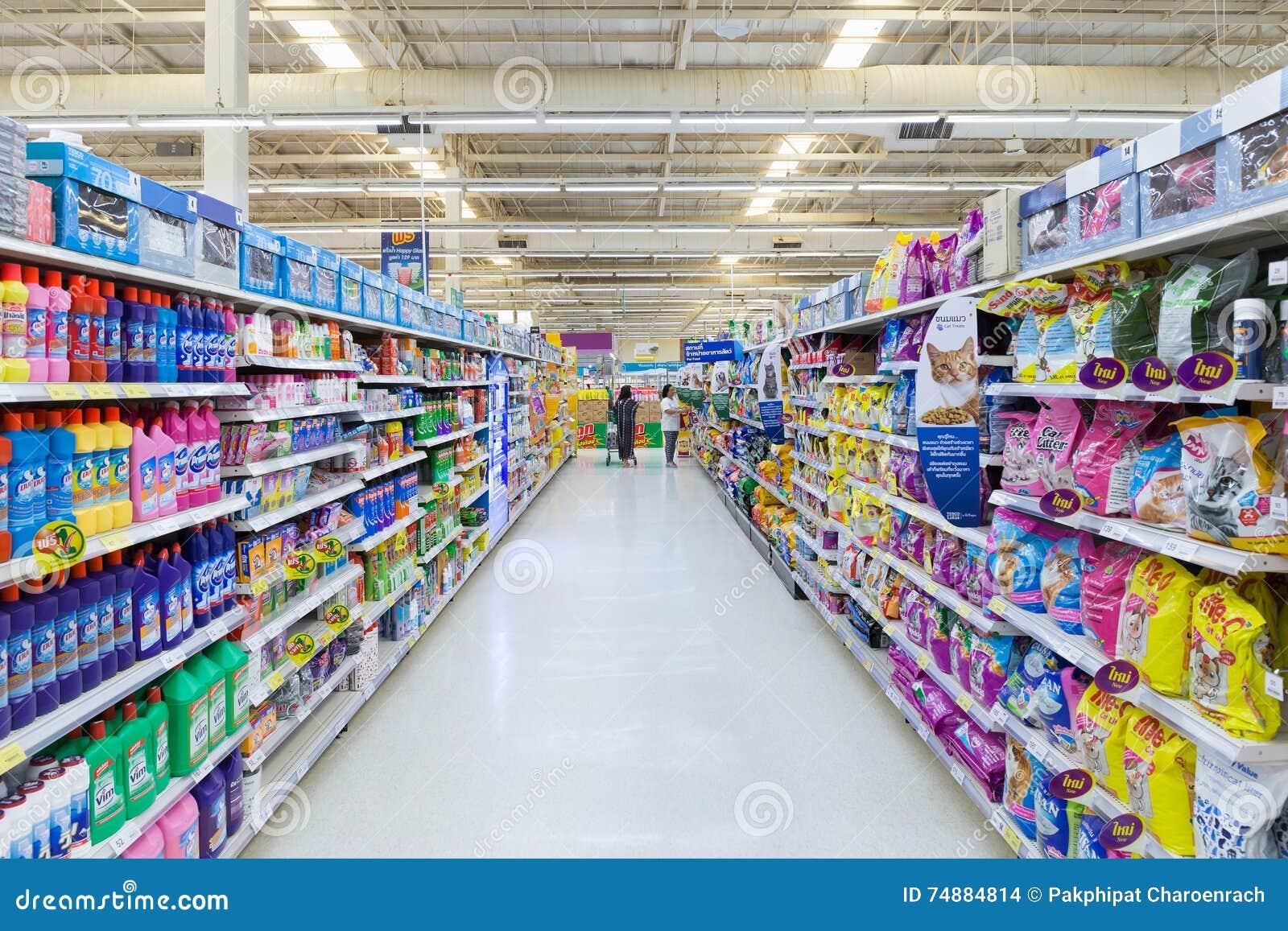 Opinião do corredor de um supermercado de Tesco Lotus