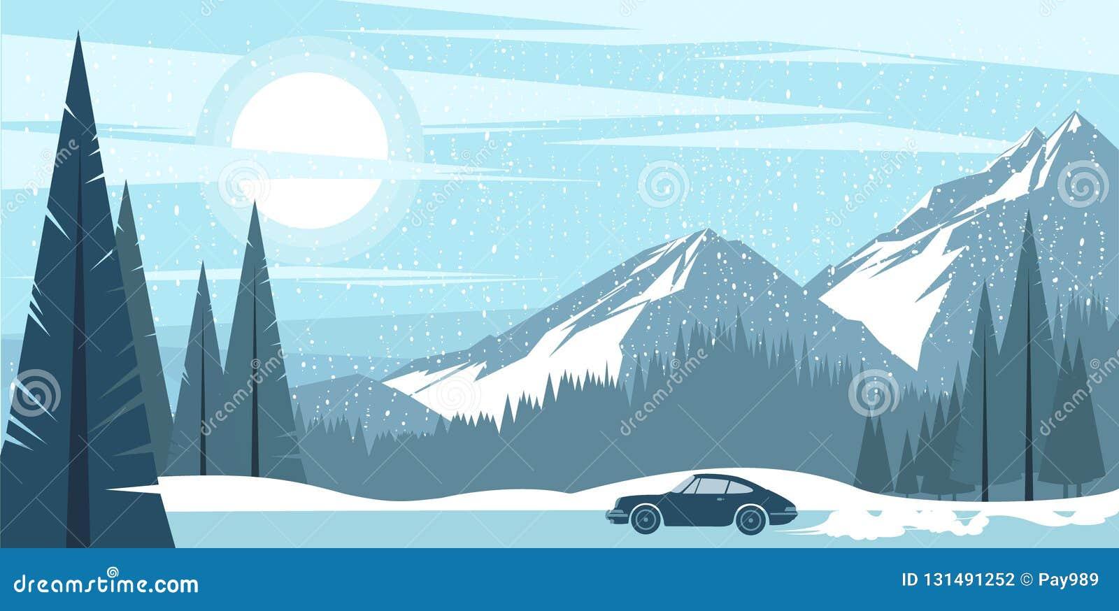 Opinião do fundo de montanhas gelados de um inverno