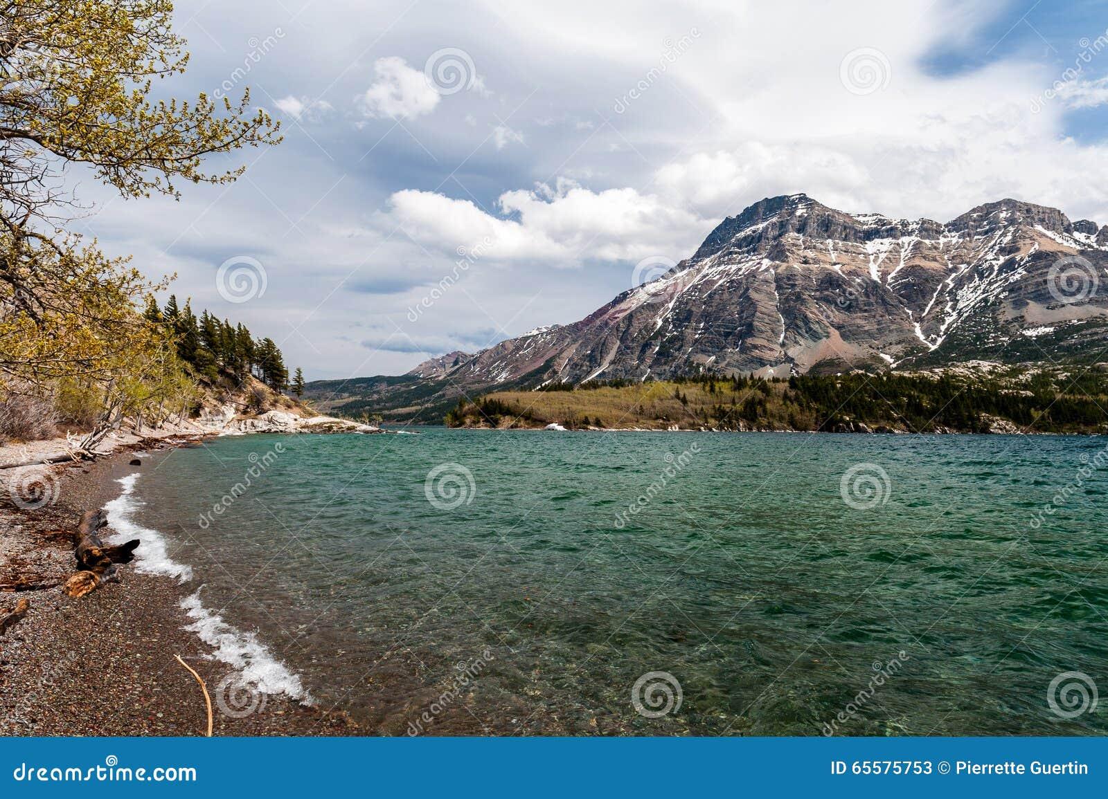 Opinião do lago Waterton da praia