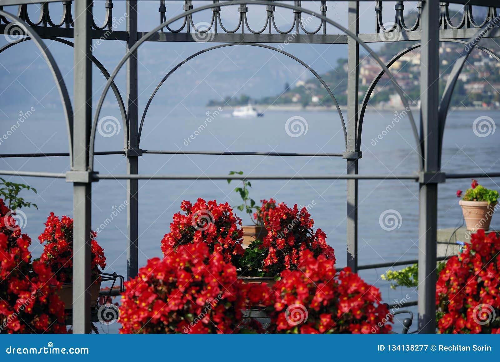 Opinião do outono da venda Marasino sobre o lago Iseo Cidade de Marone à direita