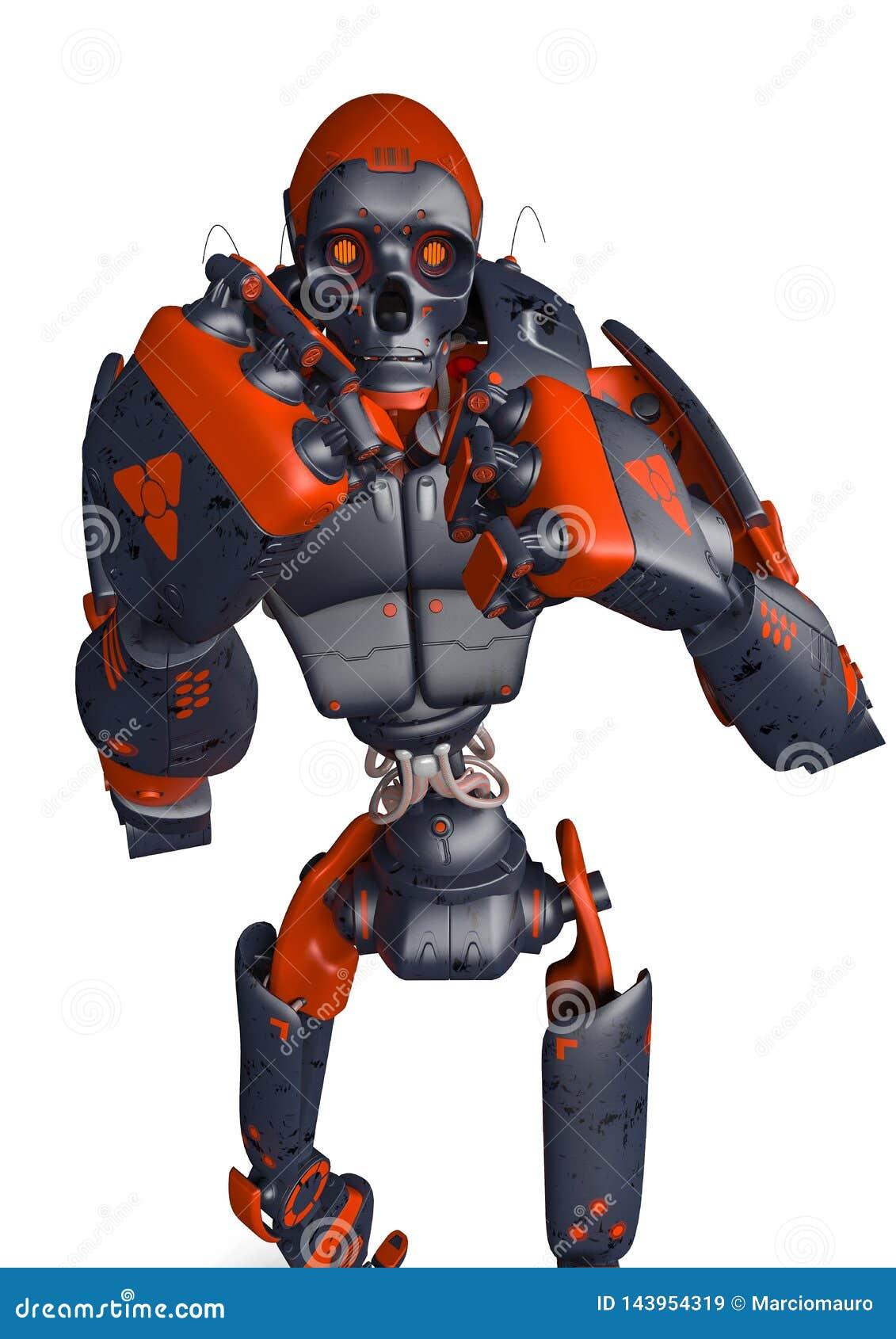 Opinião frontal da luta apocalíptico do wanto do robô