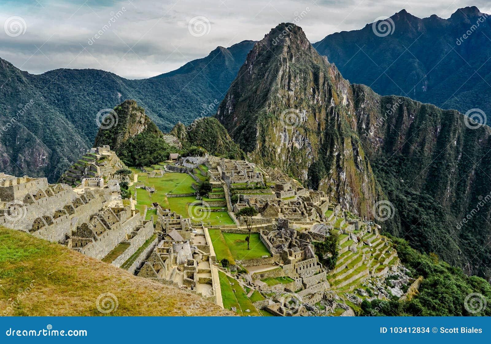 Opinião inteira de Lanscape de Machu Picchu, Peru
