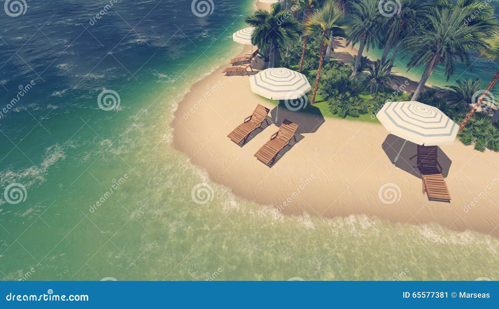 Opinião invertido da praia tropical de Sandy