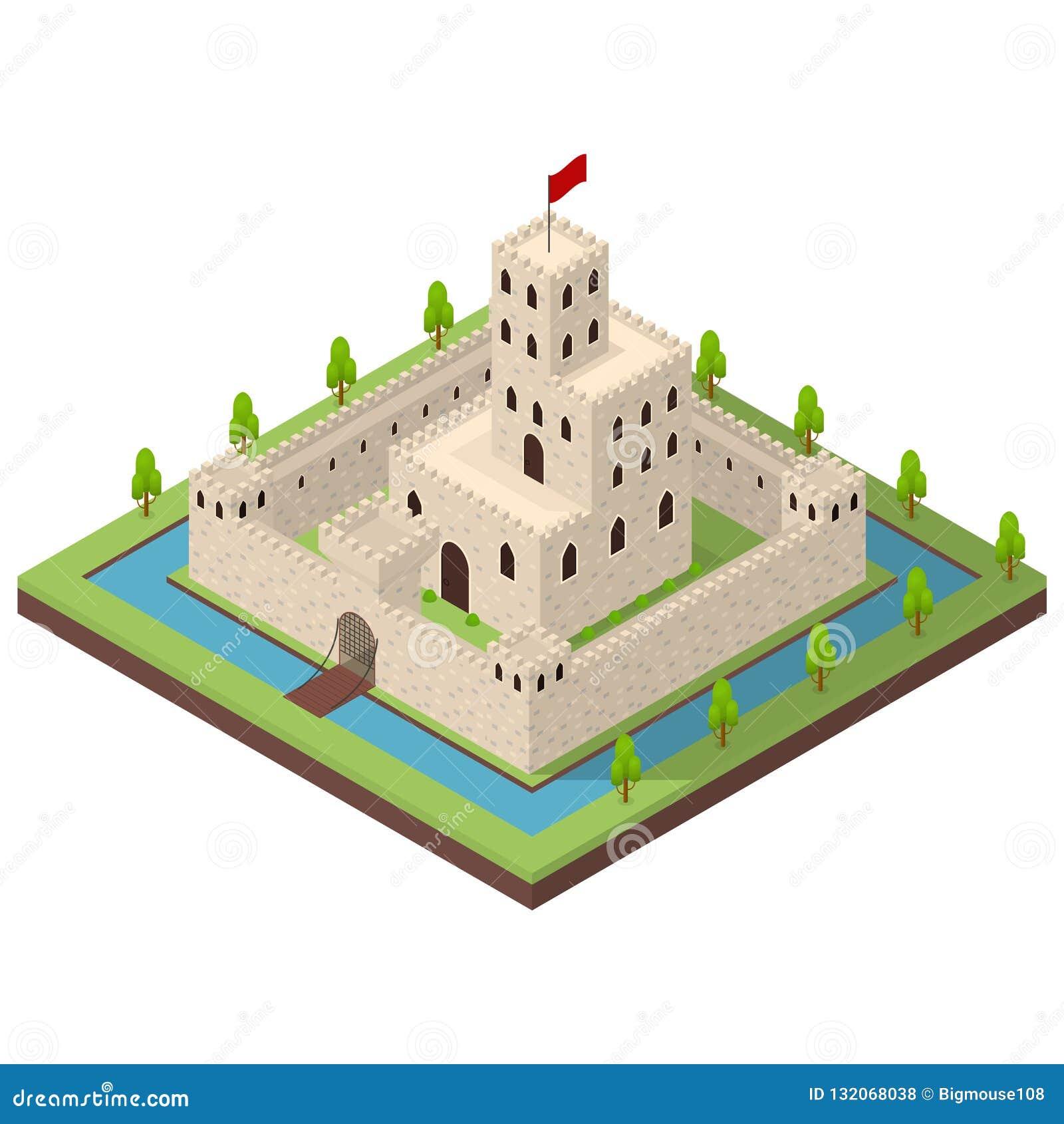 Opinião isométrica medieval do conceito 3d do reino Vetor