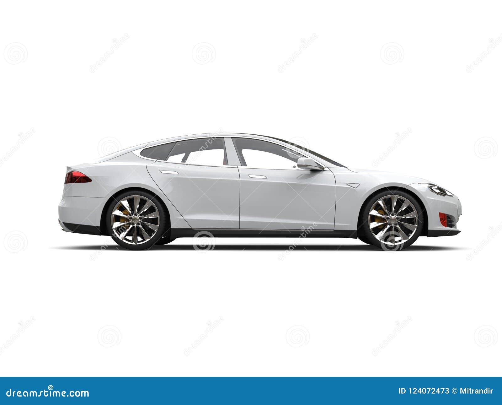 Opinião lateral automobilístico dos esportes bondes modernos brancos frescos