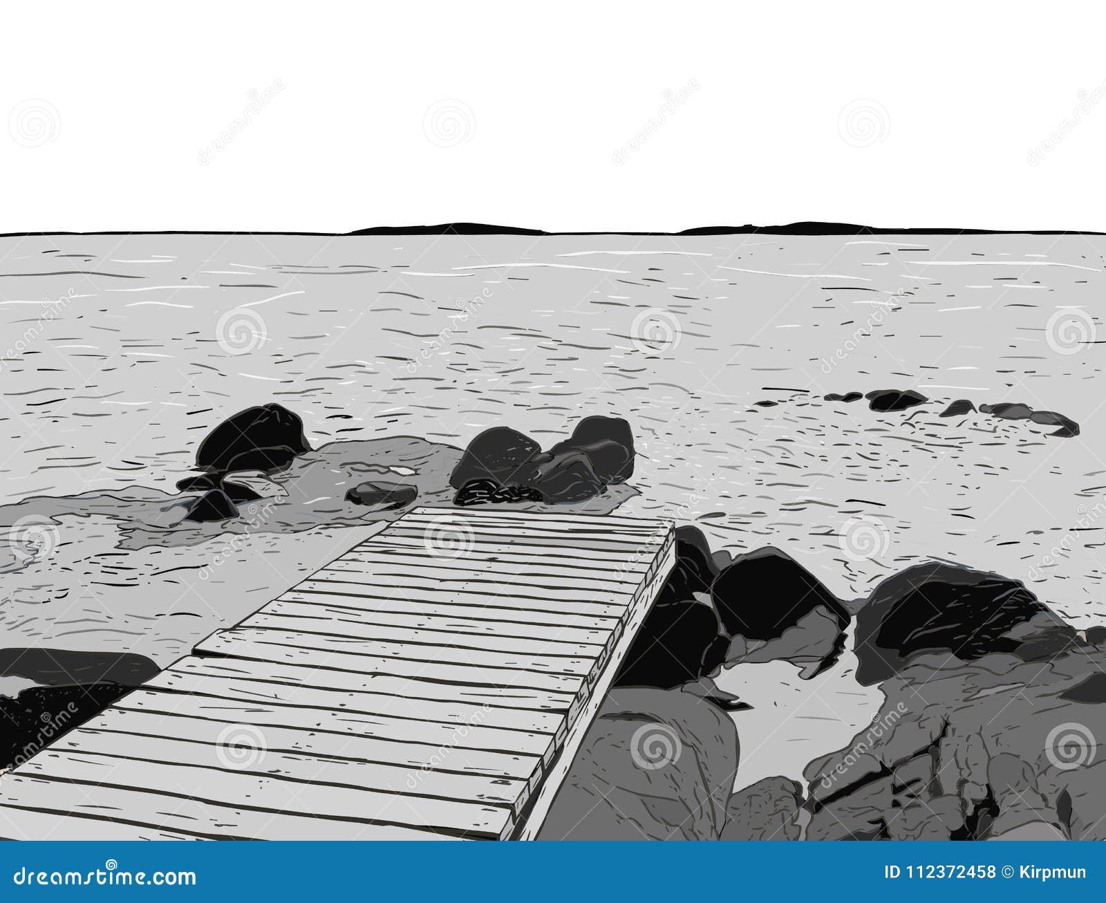 Opinião maravilhosa do mar Esboço do cais O porto de madeira, mar, ilha, scen