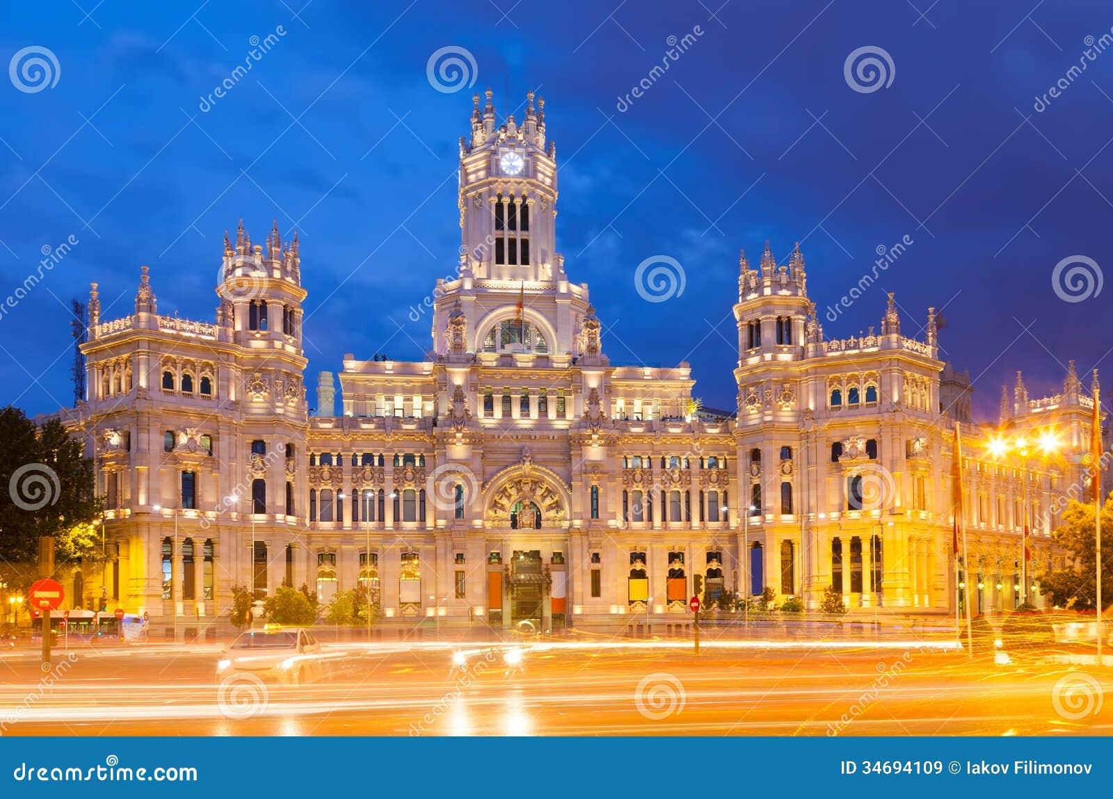 Opinião Palacio De Cibeles Na Noite Madri Imagem De Stock