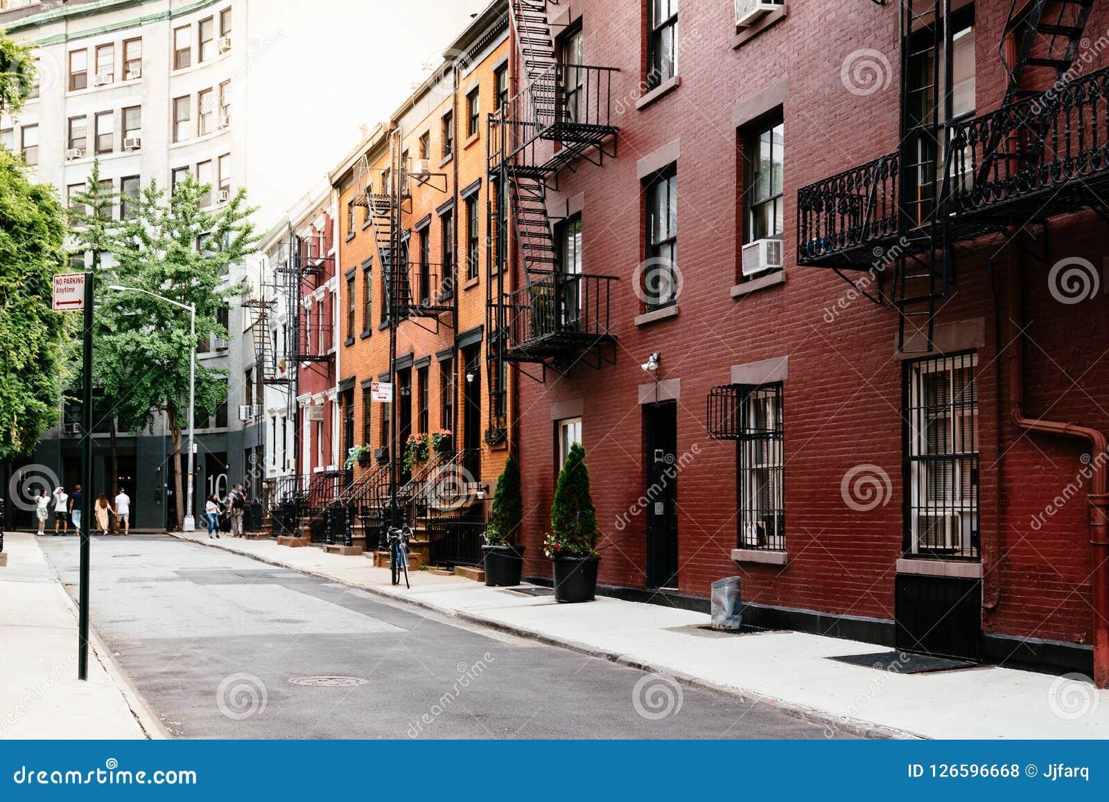 Opinião pitoresca da rua no Greenwich Village, New York Fotos de Stock Royalty Free