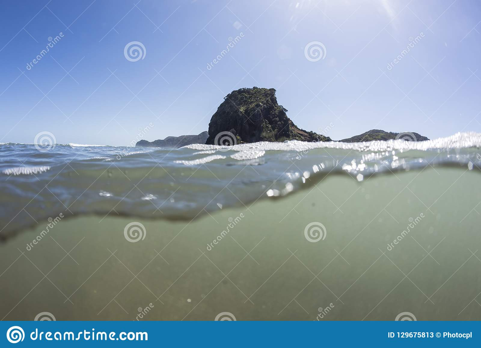 Opinião rachada Lion Rock Piha Beach