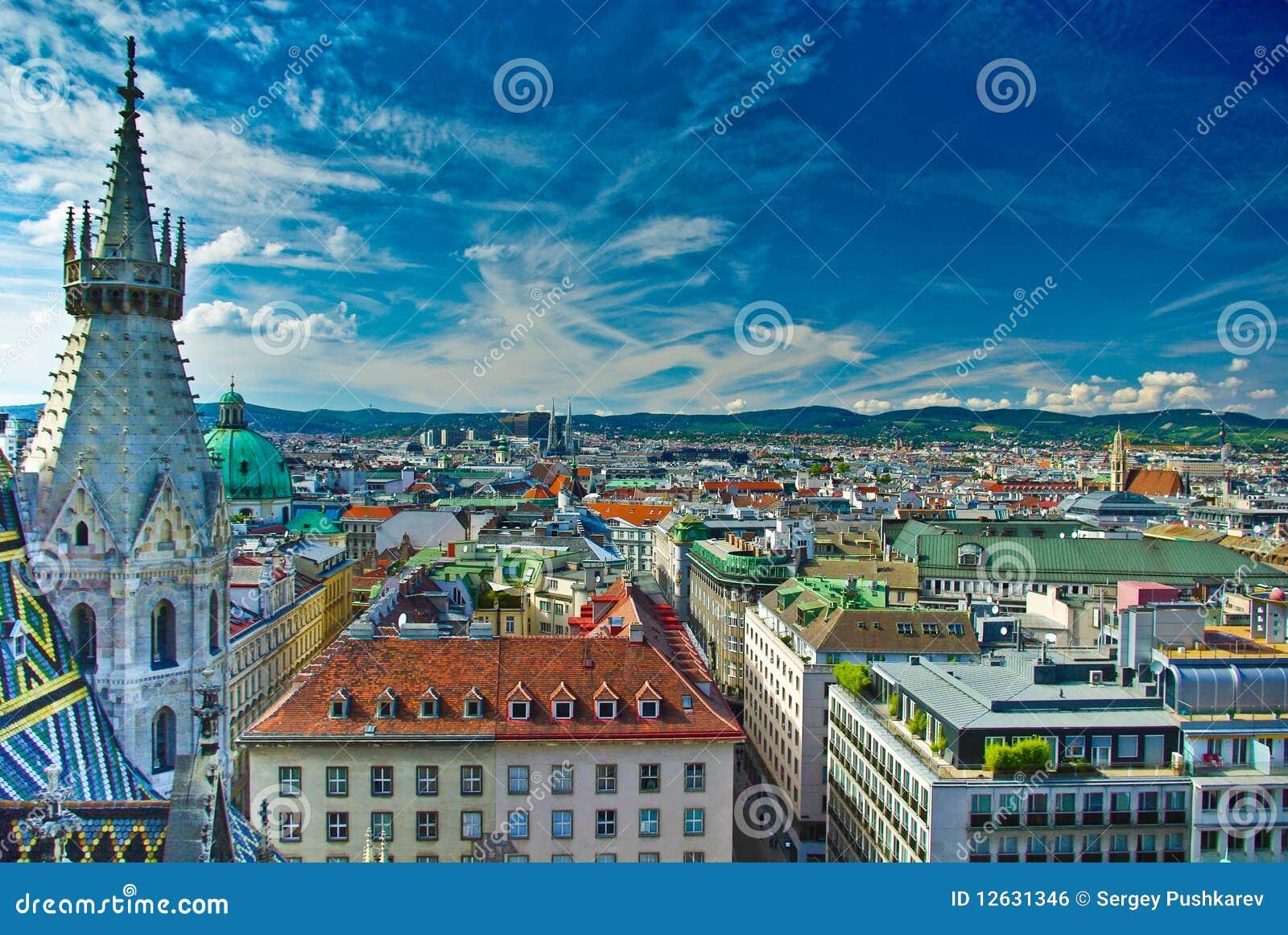 Opinião superior de centro de cidade de Viena