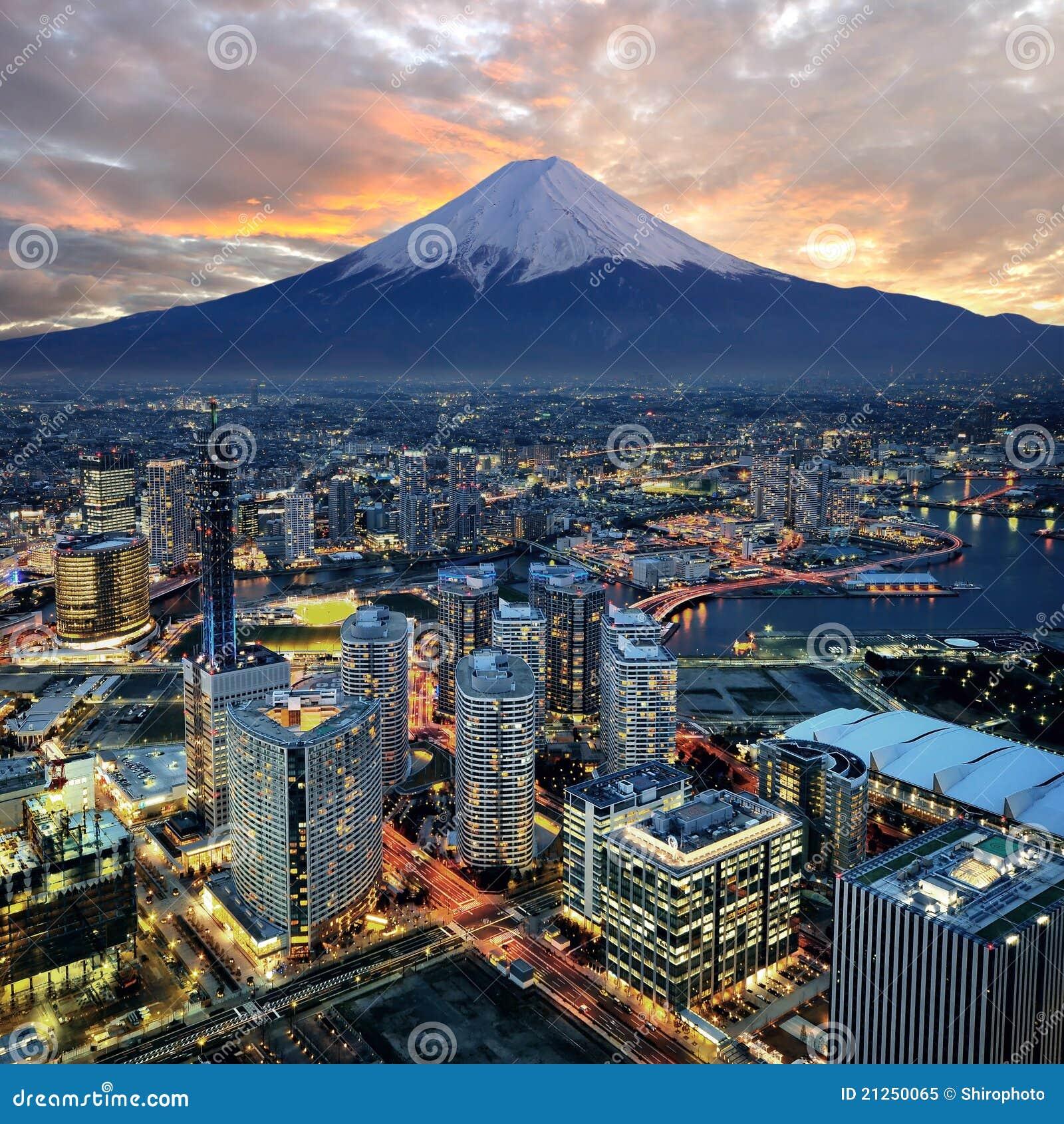 Opinião surreal da cidade de Yokohama