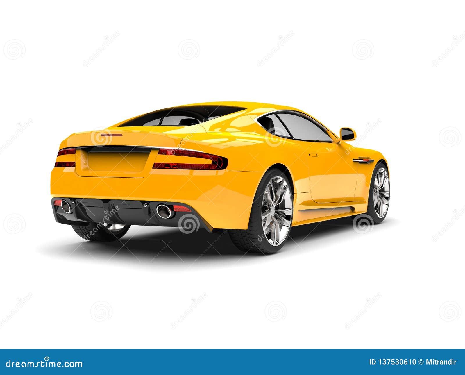 Opinião traseira automobilístico luxuosa dos esportes modernos amarelos de Sun