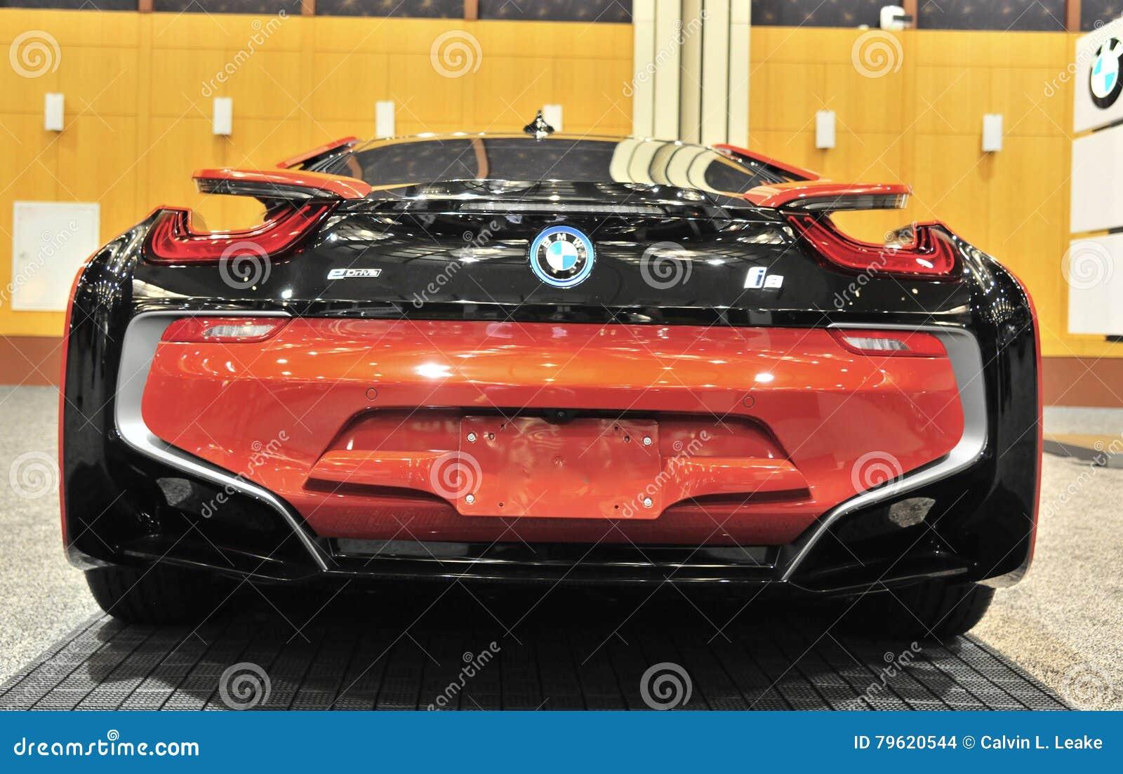 Opiniao Traseira De Carro De Esportes De Bmw I8 Imagem De Stock