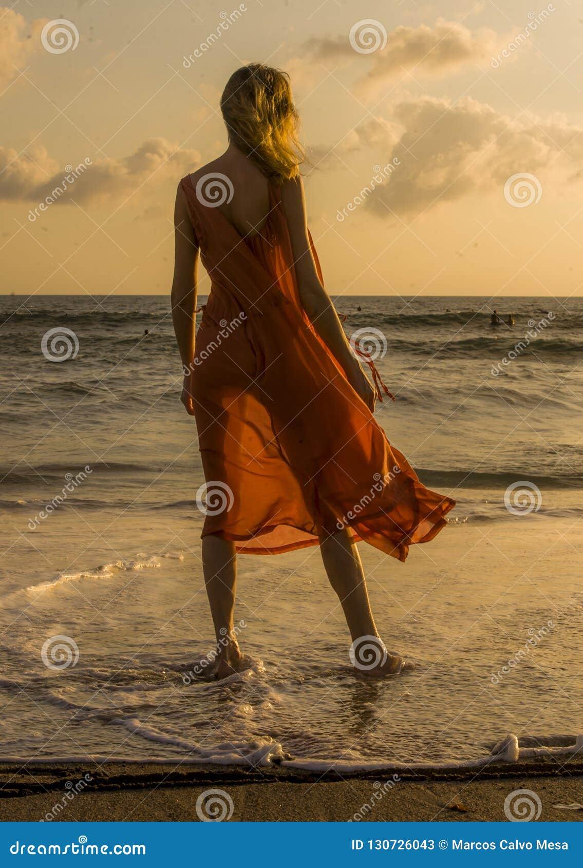 Opinião traseira a mulher loura loura e glamoroso que levanta na praia que veste o vestido à moda e sensual que olha o mar no ver