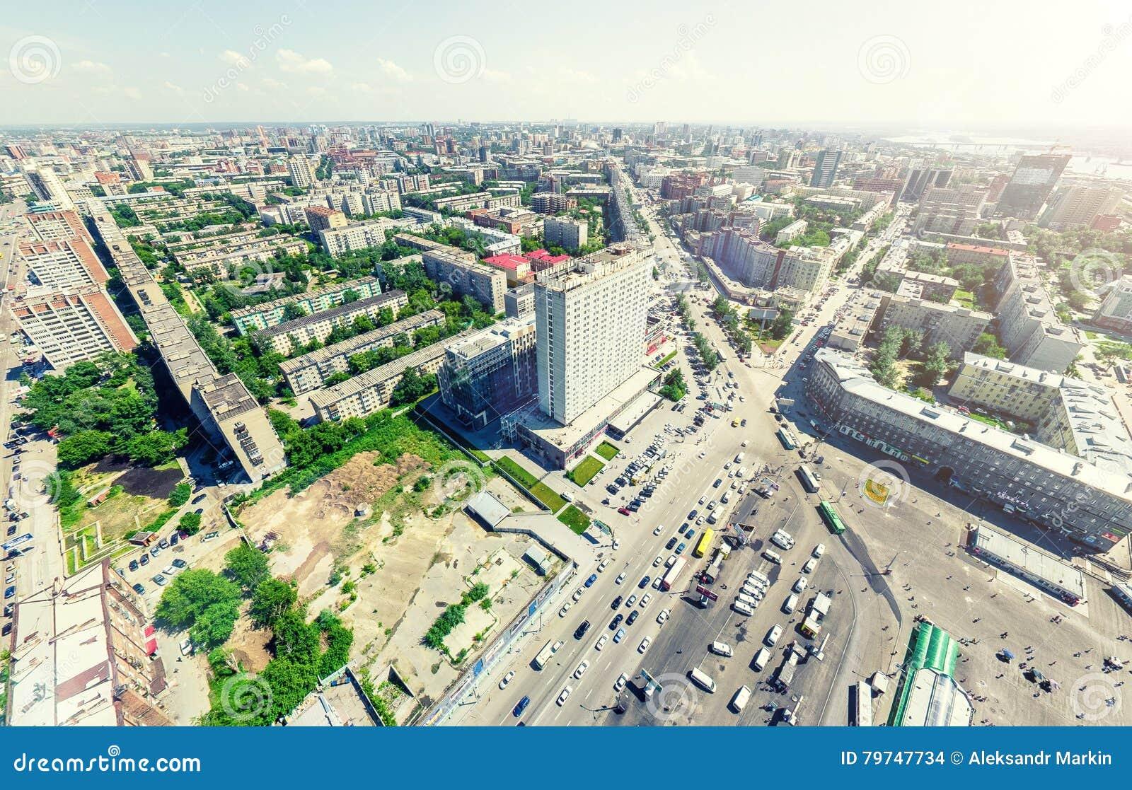 Opinión aérea de la ciudad Paisaje urbano Tiro del helicóptero Imagen panorámica