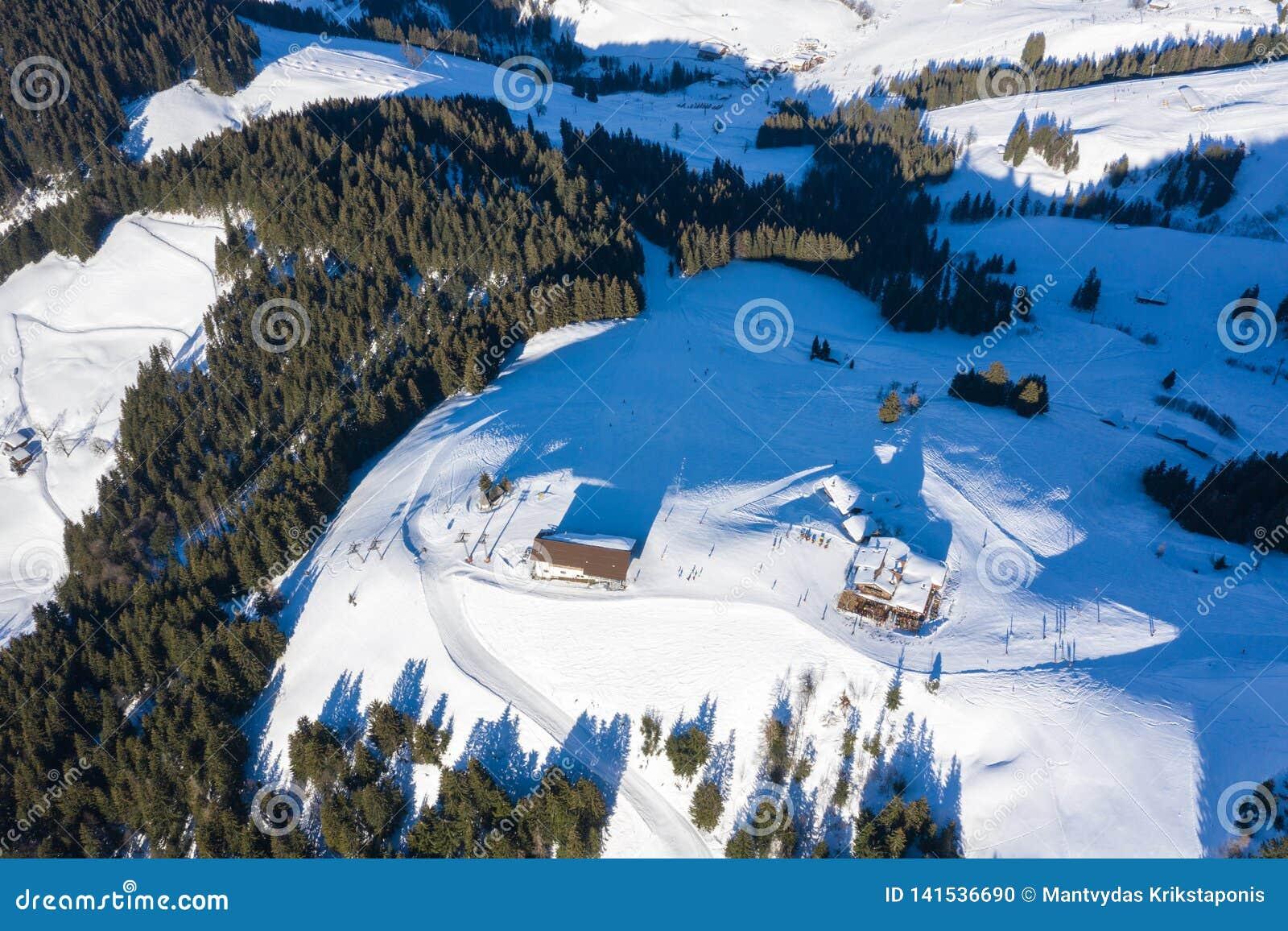 Opinión aérea del abejón de montañas, del bosque y de la estación de esquí del invierno