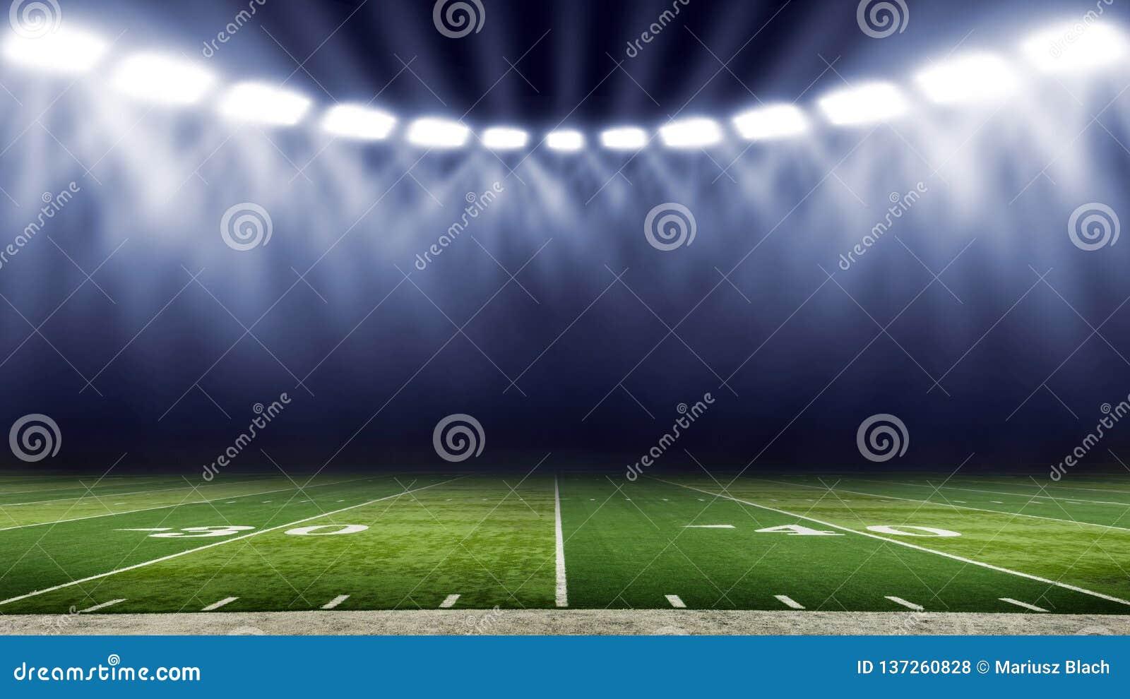Opinión americana del campo del ángulo bajo del estadio de fútbol