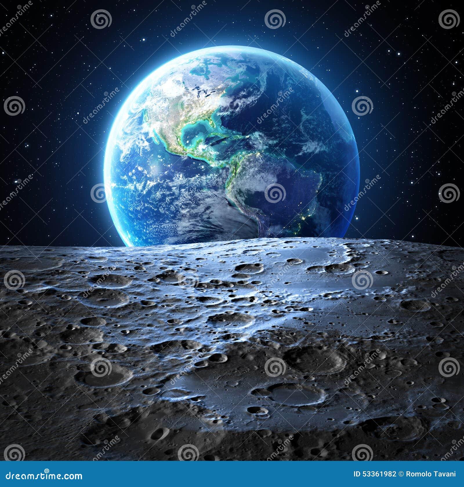 Opinión azul de la tierra de la superficie de la luna