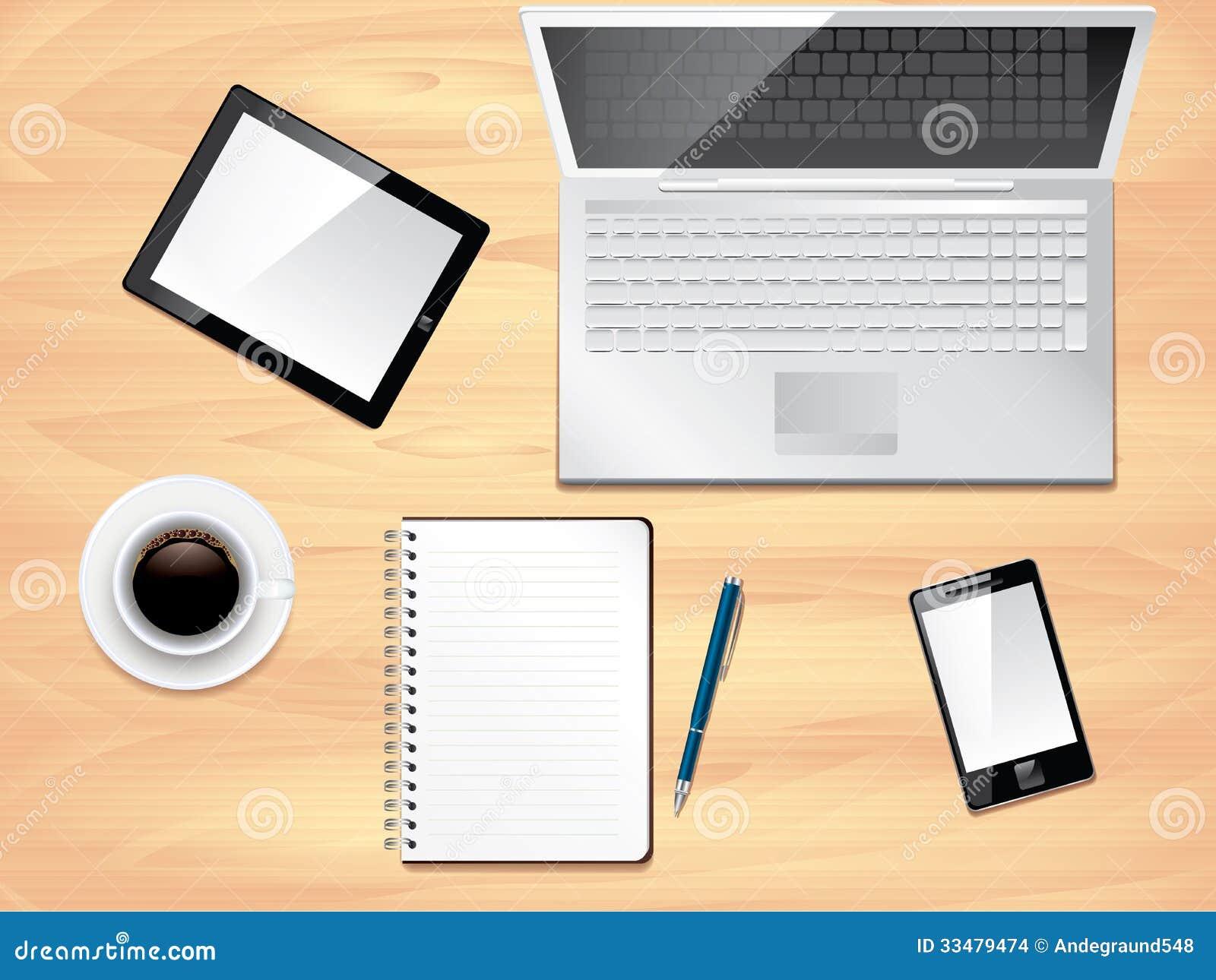 Opinión de escritorio de la oficina, foto realista