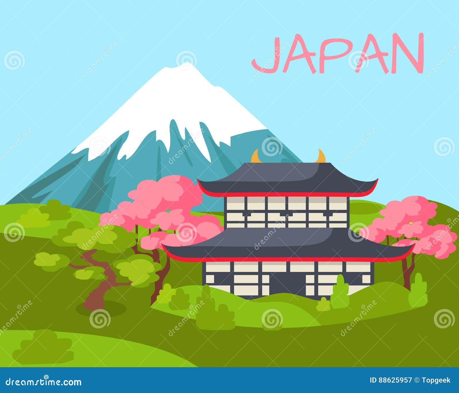 Opinión de Japón sobre el edificio asiático y Sakura de florecimiento