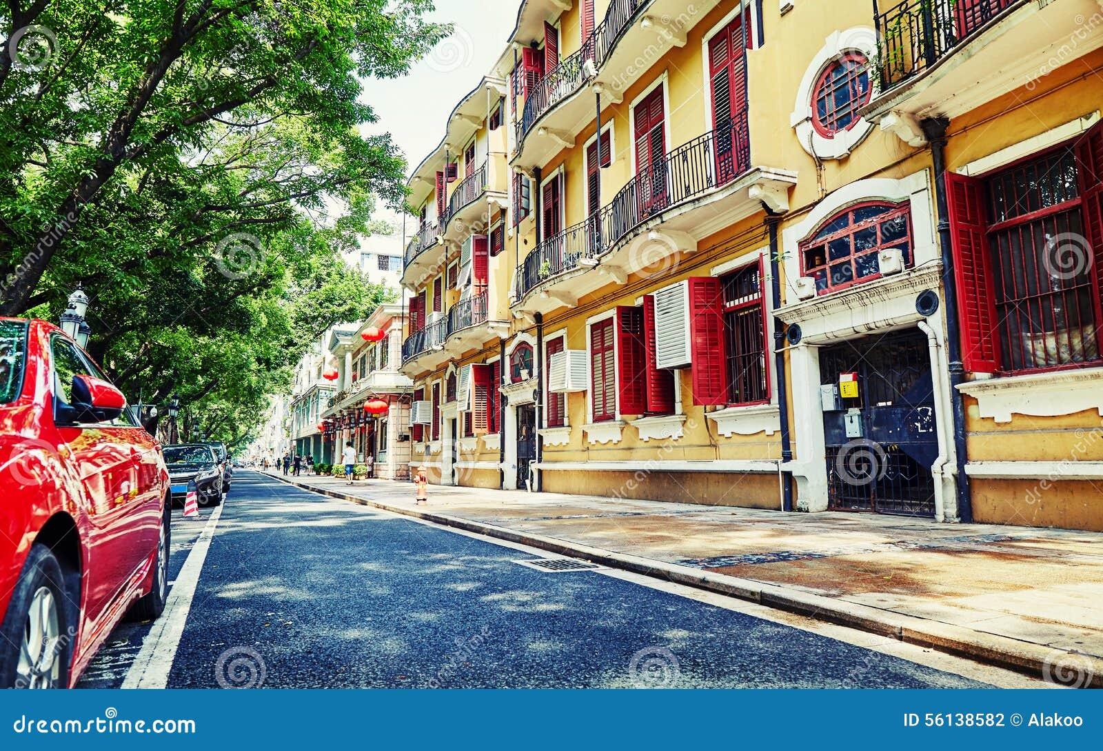 Opinión de la calle de la ciudad en Guangzhou China