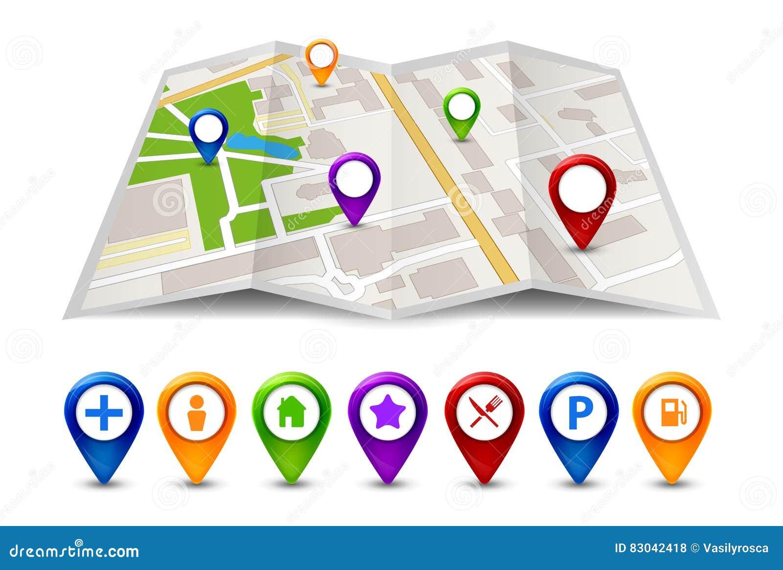 Marca Del Mapa Símbolo De Ios 7: Opinión De La Calle Del Mapa De La Ciudad Con Las