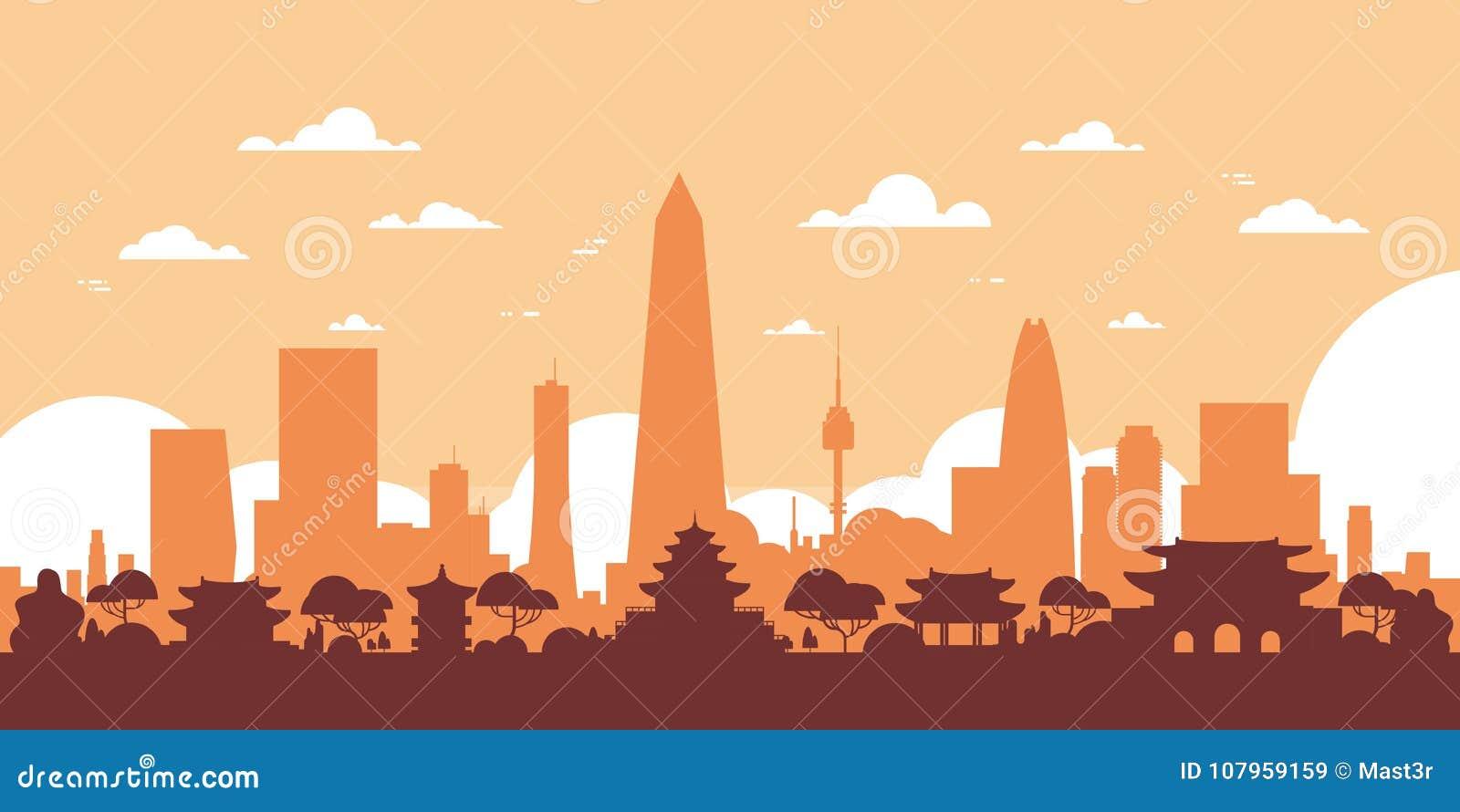 Opinión de la ciudad de la Corea del Sur del horizonte de la silueta de Seul con los rascacielos y las señales