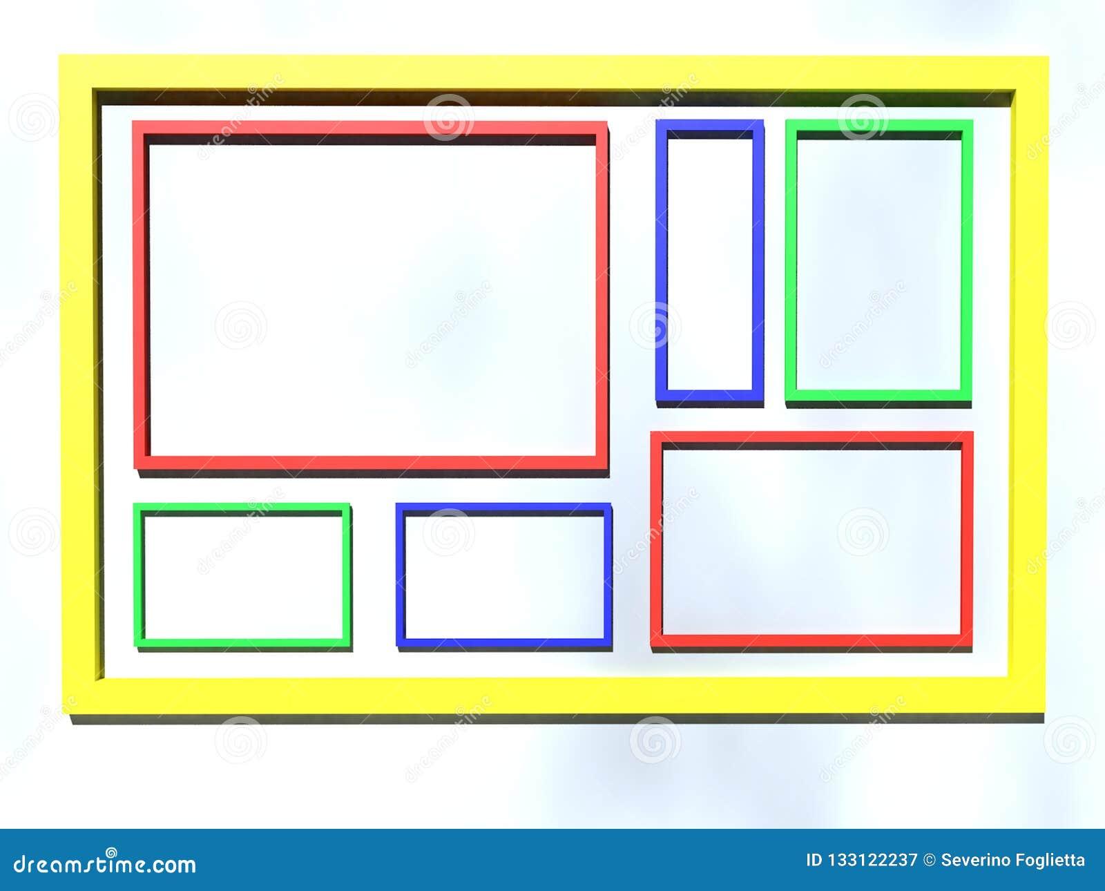 Opinión de la serie del ejemplo 3D de bastidores con diversos tamaños y de colores en fondo de la pendiente