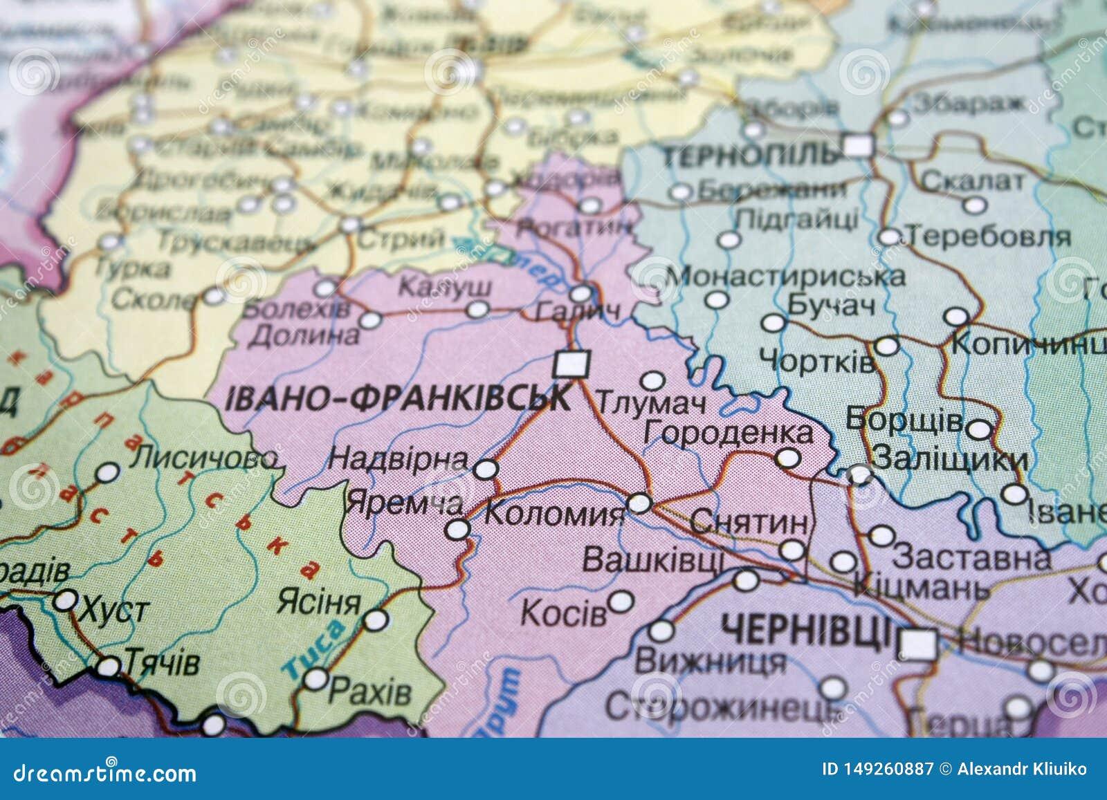 Opinion Del Mapa De La Region De Ivano Frankivsk Ucrania En Un