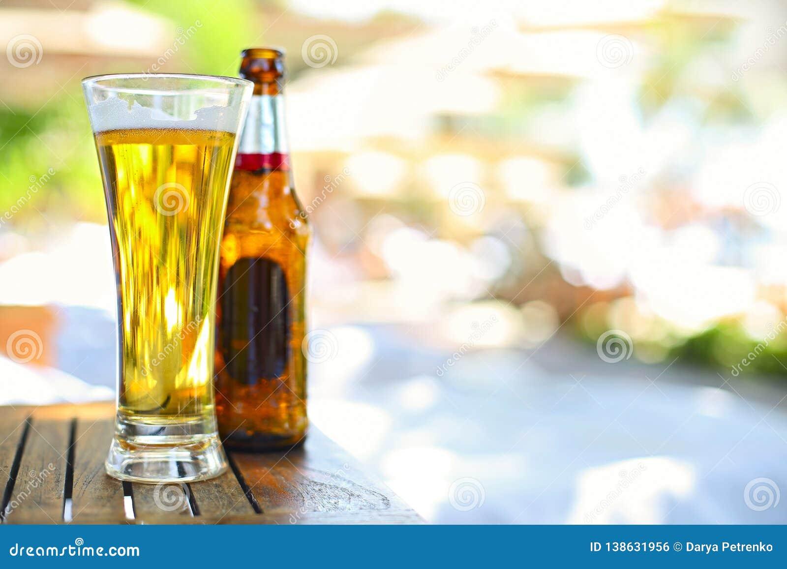 Opinión del primer de la botella de cerveza y del vidrio en el jardín