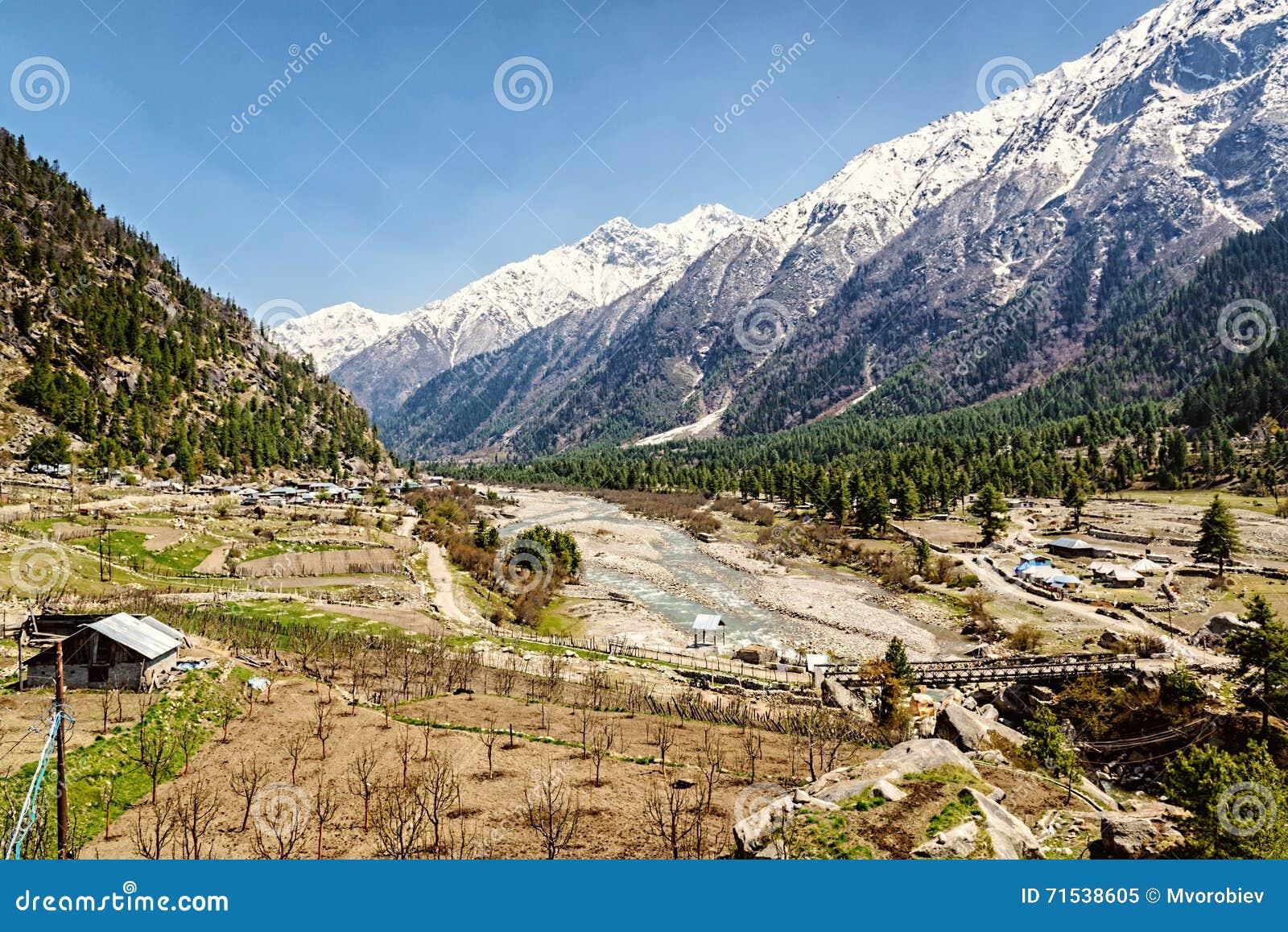 Opinión del valle en Himalaya con el río y el puente de madera Sangla