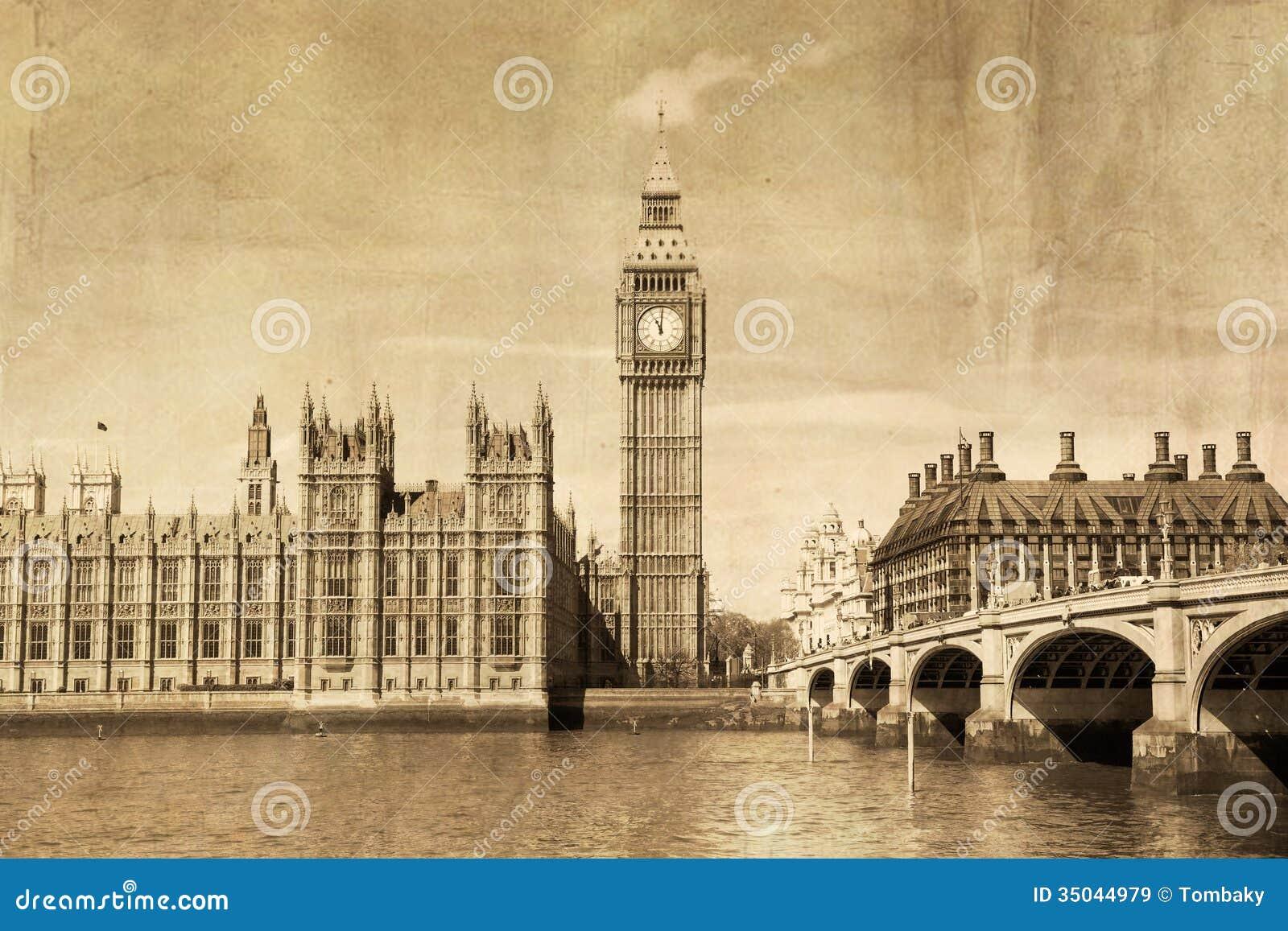 Opinión Del Vintage De Londres, Big Ben Imagen De Archivo
