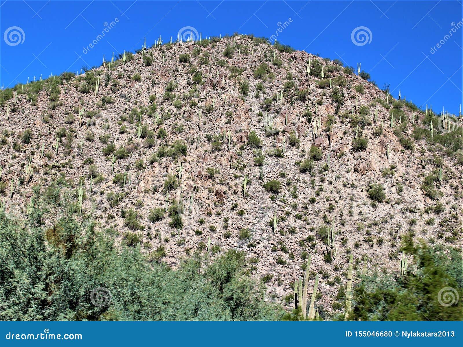Opinión escénica del paisaje de Mesa, Arizona a las colinas de la fuente, el condado de Maricopa, Arizona, Estados Unidos