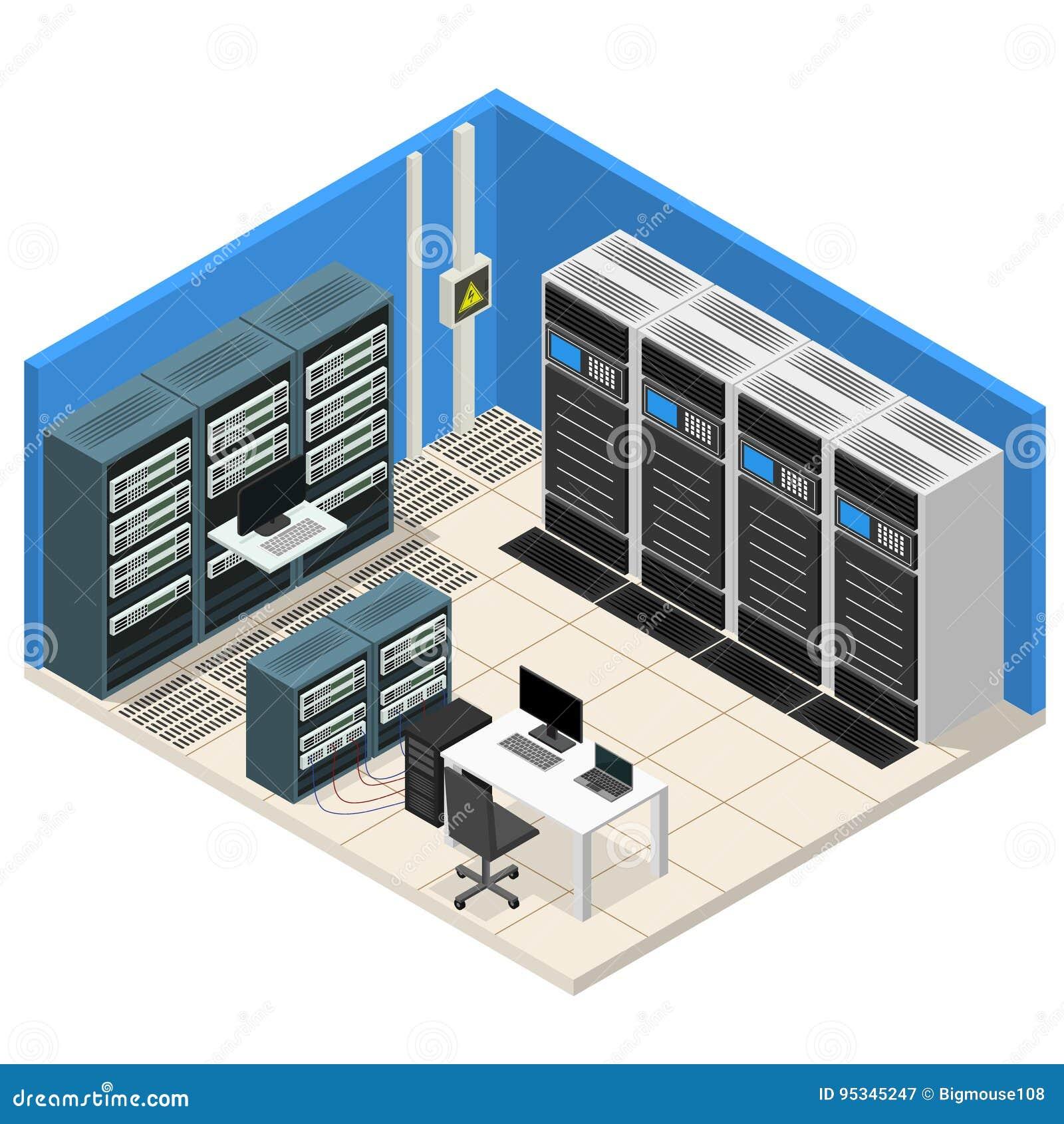 Opinión isométrica del sitio interior del servidor Vector
