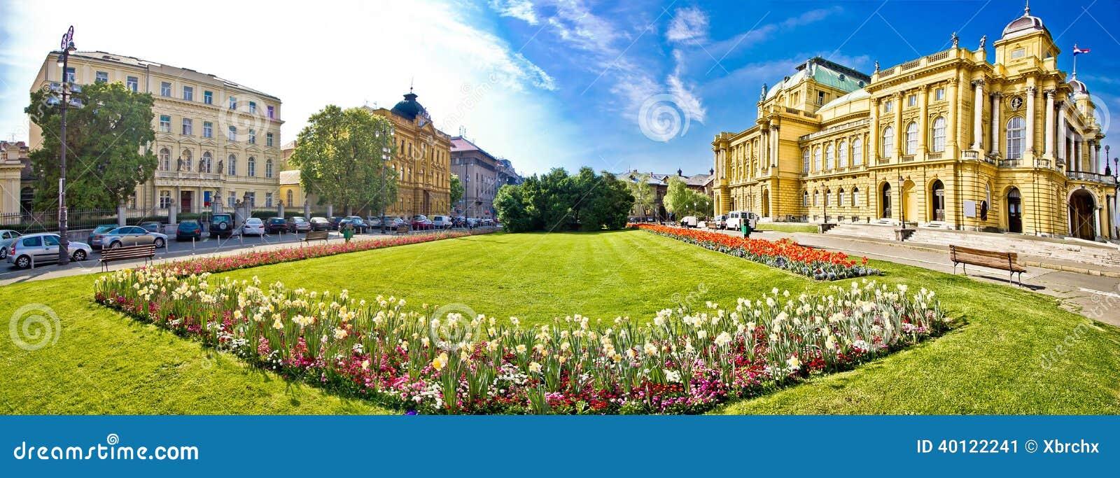 Opinión panorámica del cuadrado del teatro de Zagreb