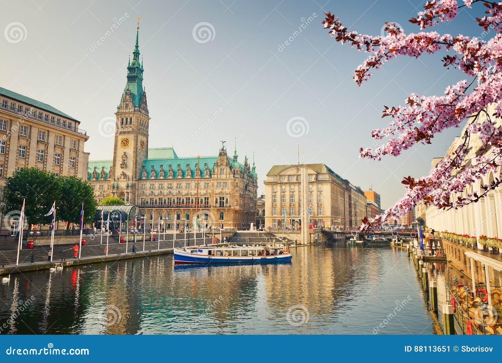 Opinión sobre el townhall de Hamburgo en la primavera