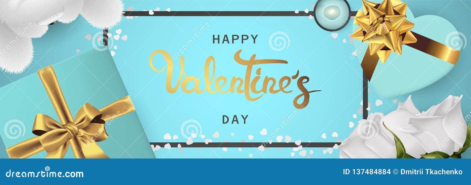 Opinión superior de día de San Valentín de la bandera de la endecha horizontal realista feliz del plano