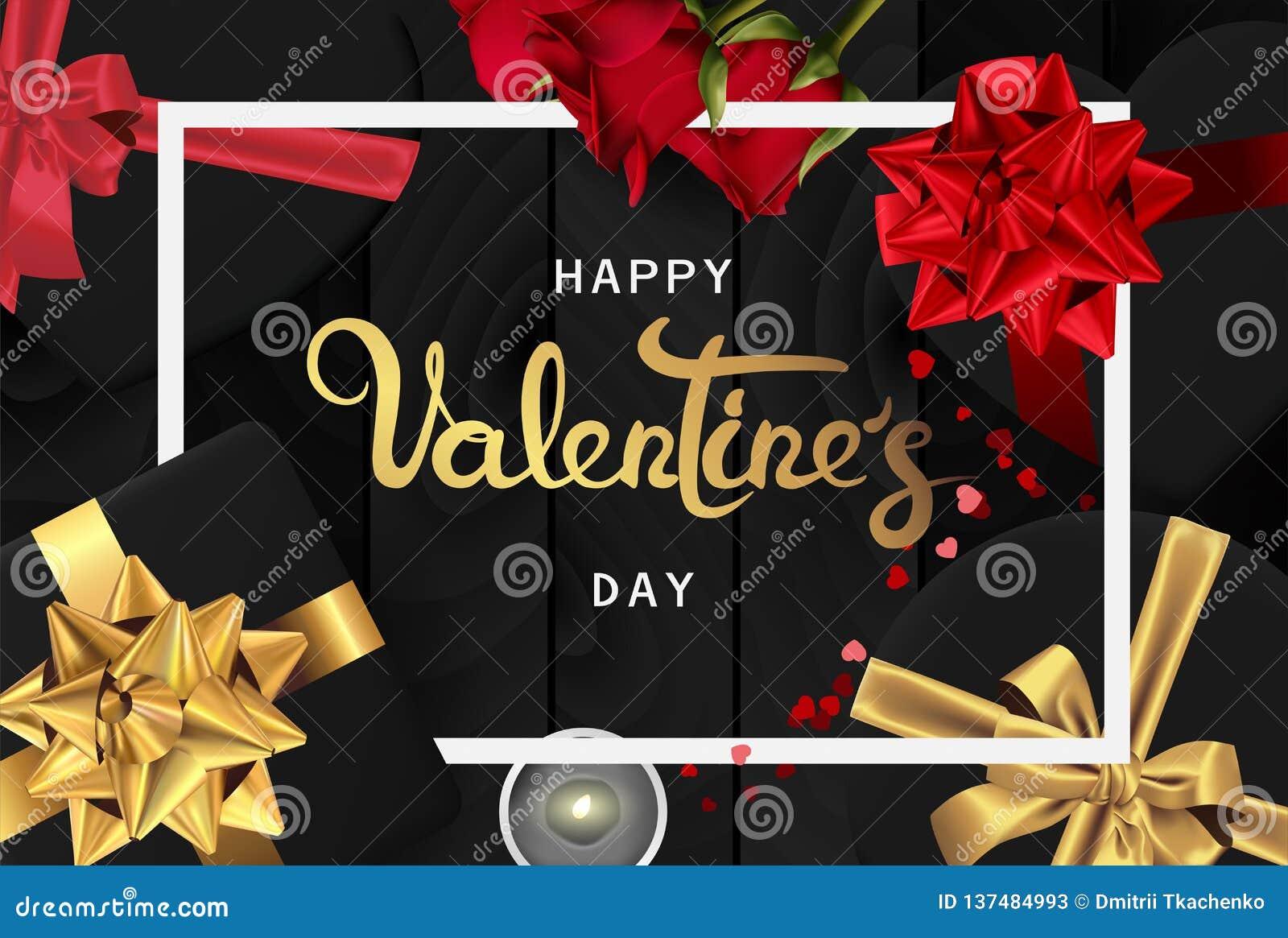 Opinión superior de día de San Valentín de la bandera de la endecha realista feliz del plano