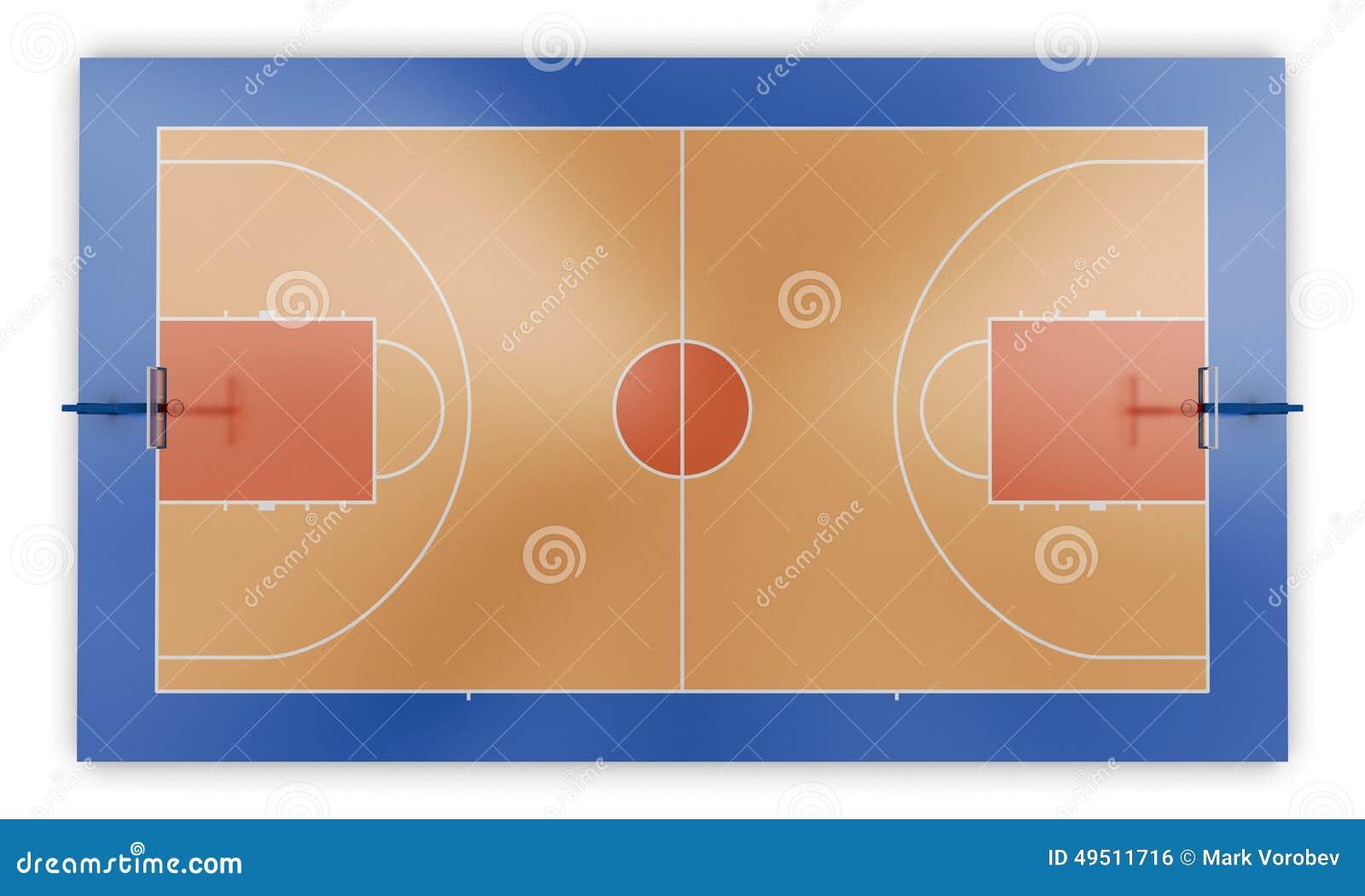 Opinión superior de la cancha de básquet