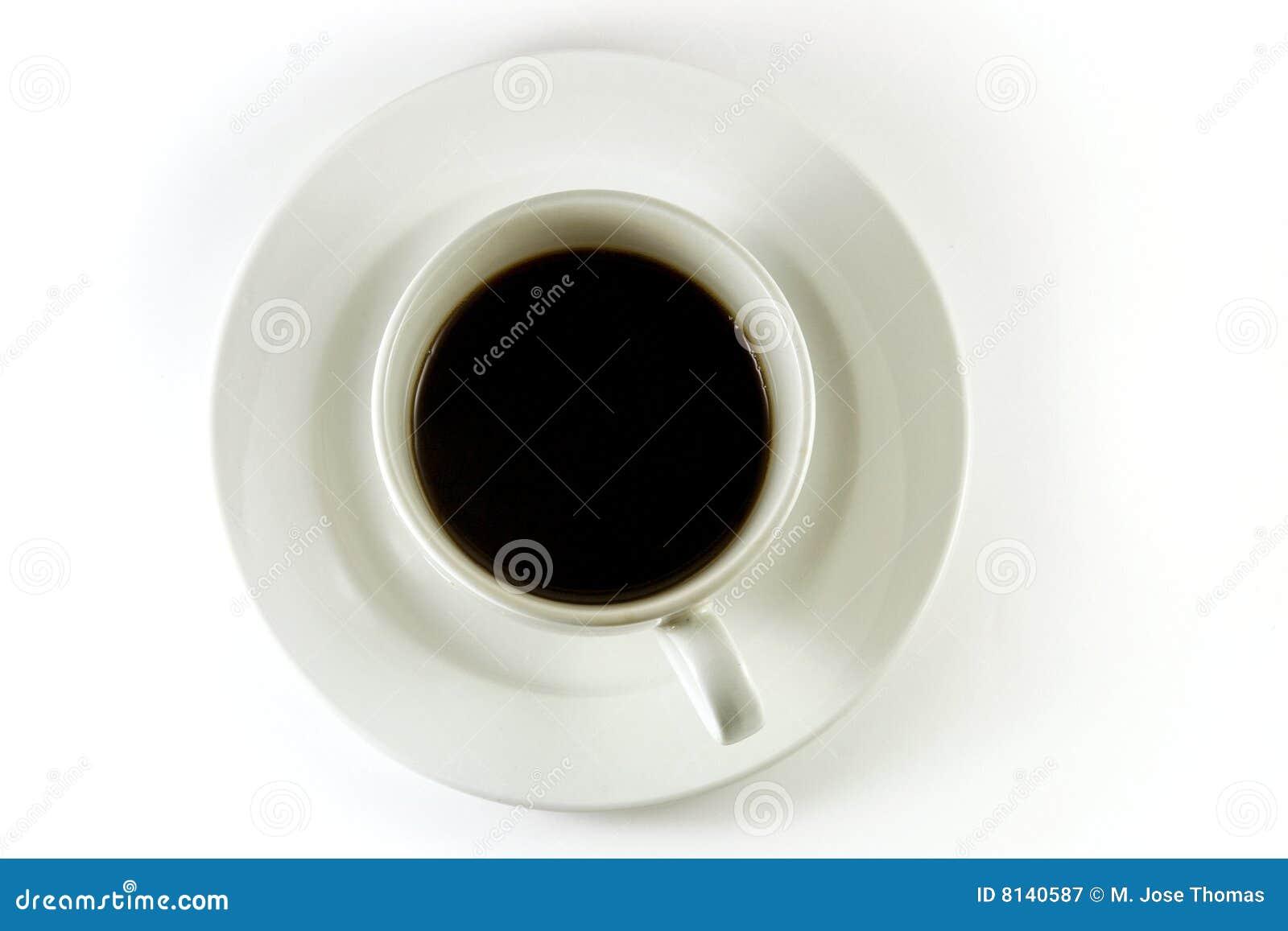 Opinión superior de la taza de café