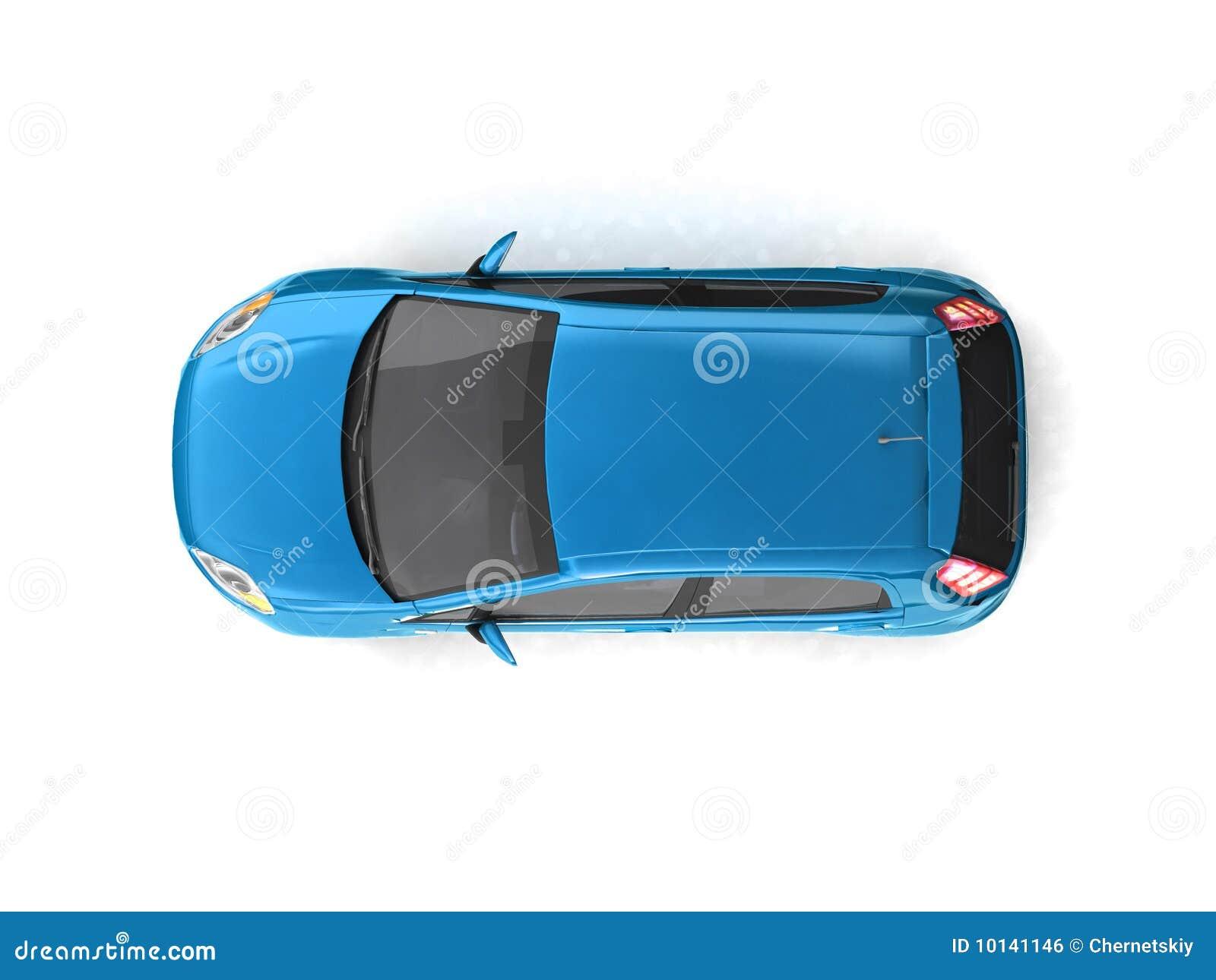 Opinión superior del coche azul de la ventana trasera