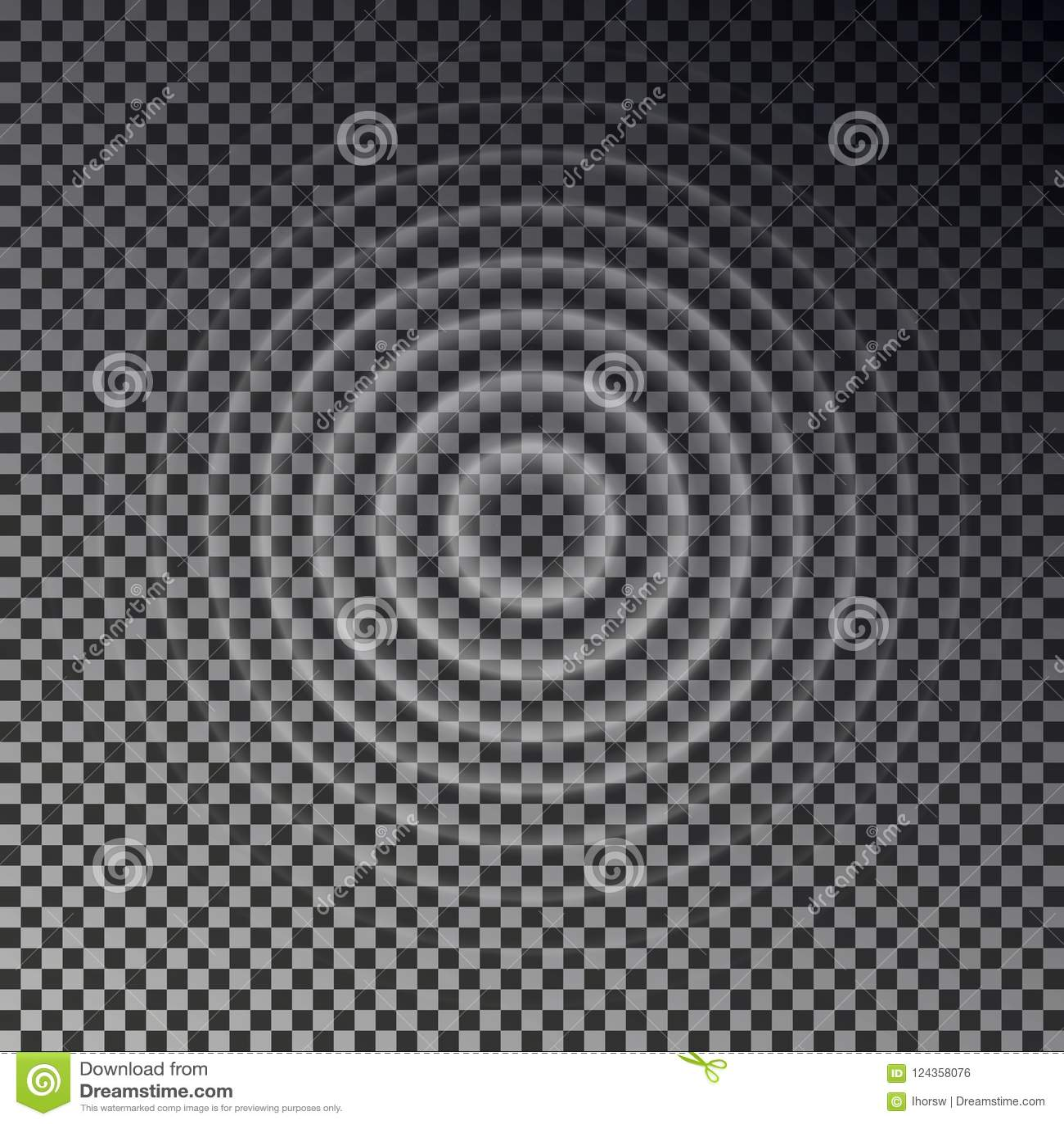 Opinión superior del efecto dominó Anillos transparentes del descenso del agua Onda acústica del círculo aislada en backgr a cuad