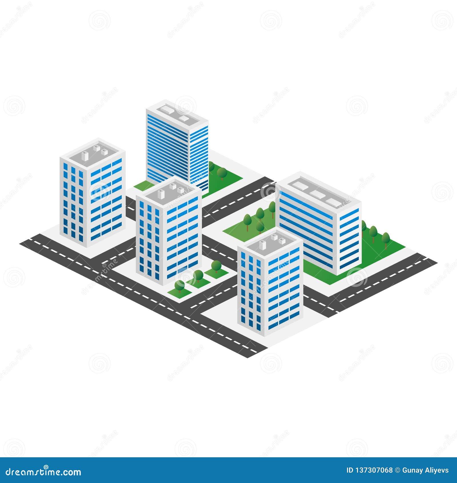Opinión tridimensional isométrica de Megapolis 3d de la ciudad Colección de casas, de rascacielos, de edificios, construidos y de