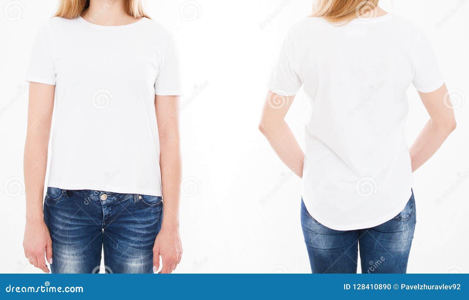 Opiniões dianteiras e traseiras a mulher bonita, menina no tshirt nos vagabundos brancos