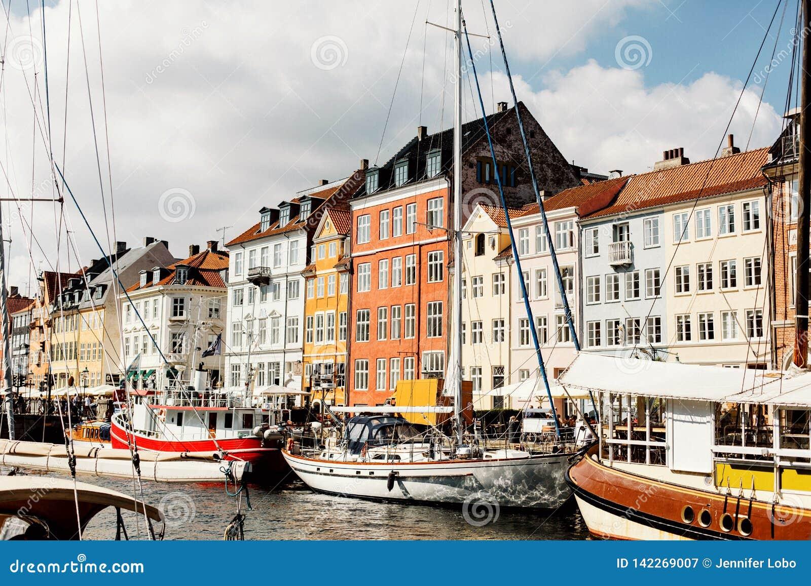 Opiniões do porto de Copenhaga em um dia de verão