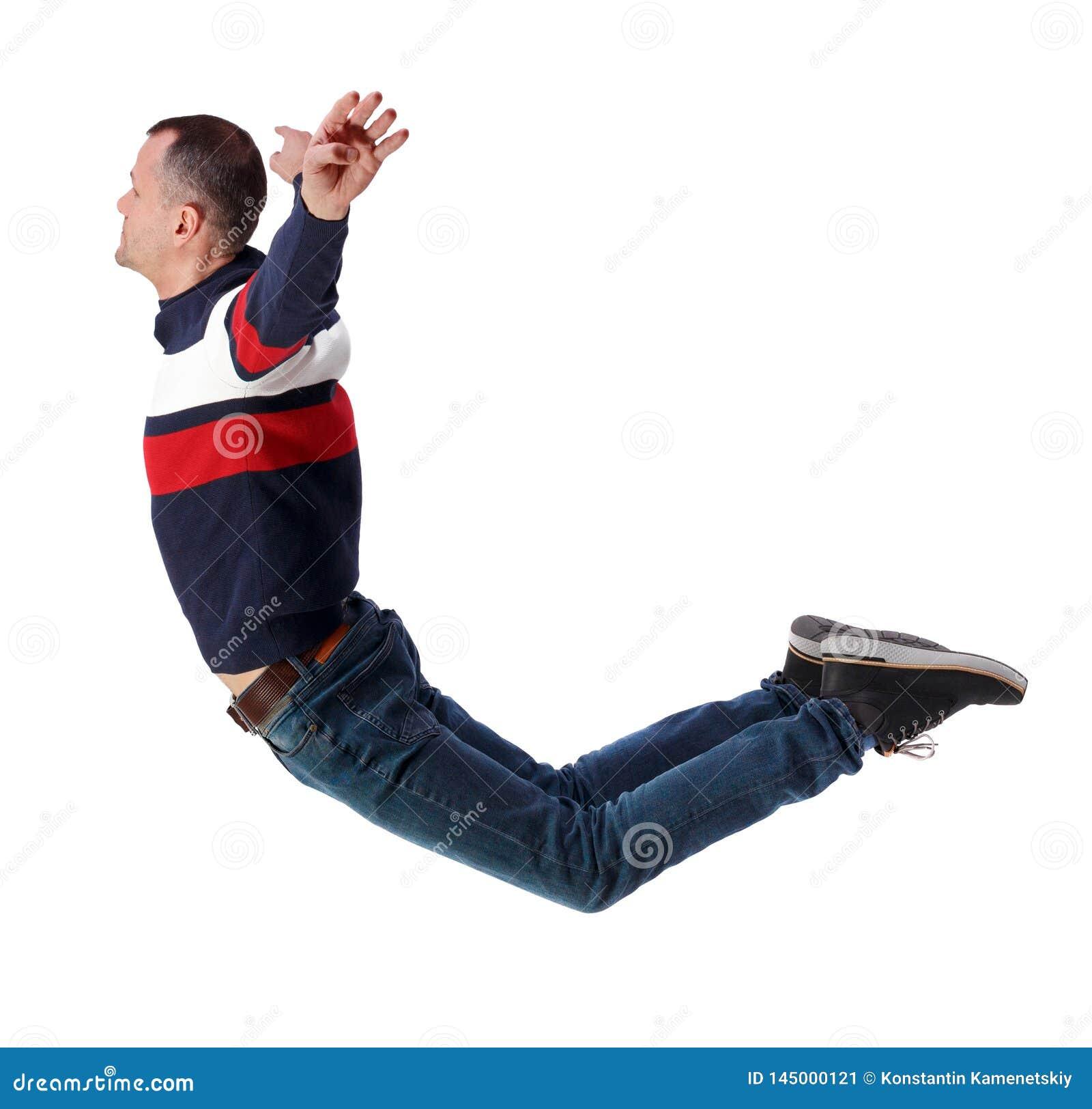 Opini?o lateral o homem na gravidade zero ou em uma queda