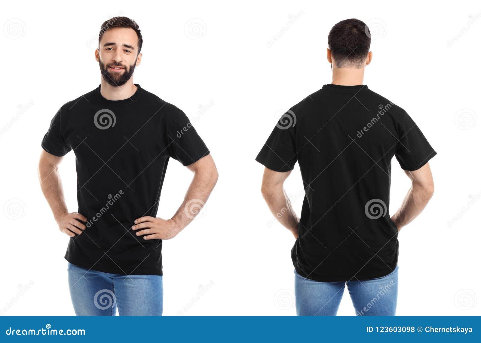 Opiniones delanteras y traseras el hombre joven en camiseta negra