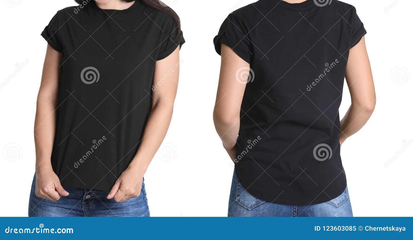 Opiniones delanteras y traseras la mujer joven en camiseta negra