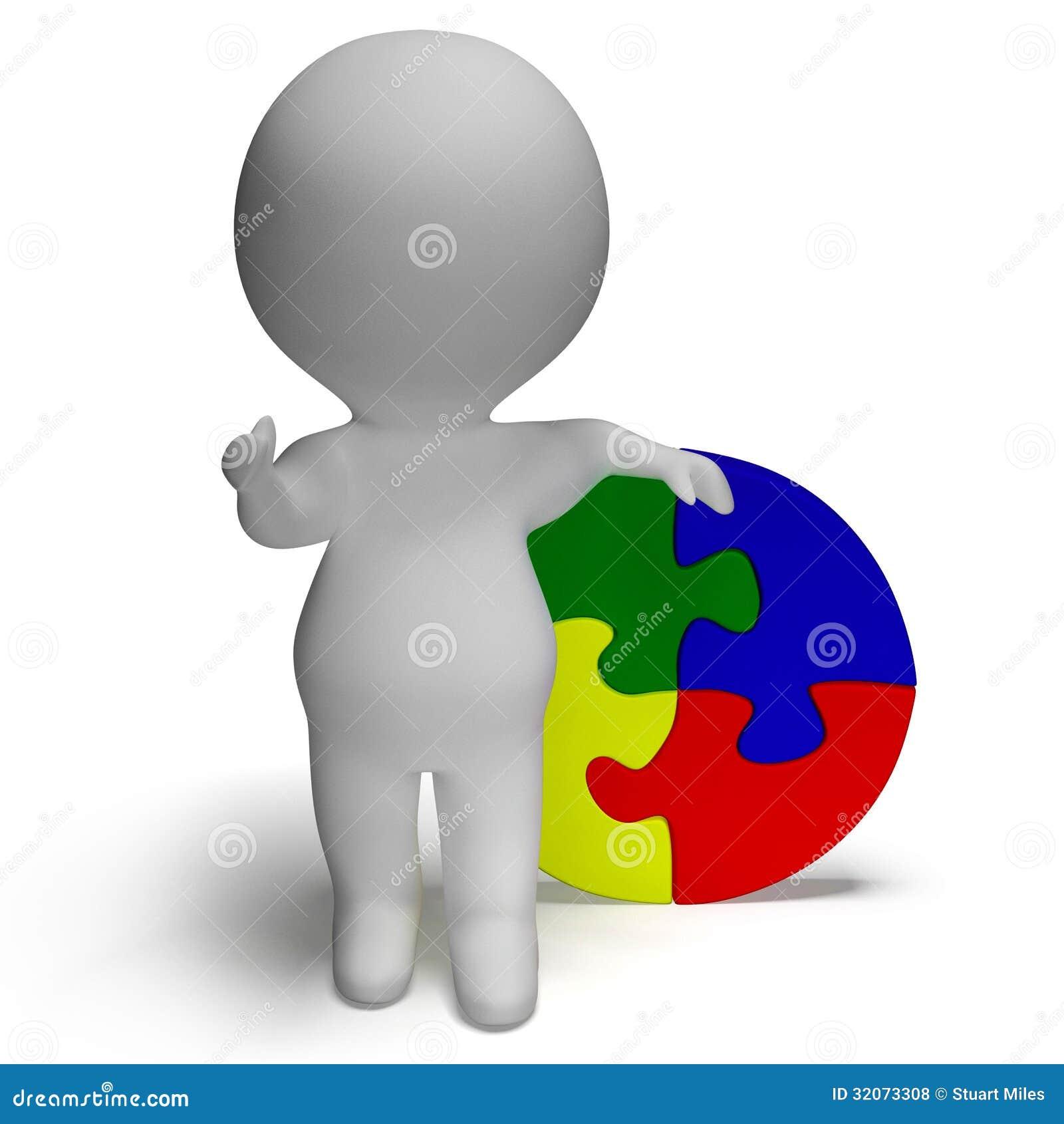 Oplossing tonen of Gebeëindigde figuurzaagoplossing en 3d Karakter die