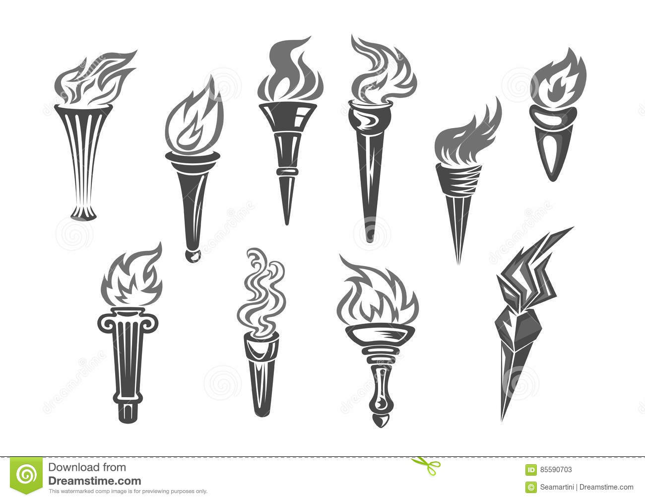 Oplympic Games Flame Vector Isolated Icons Set Stock Vector